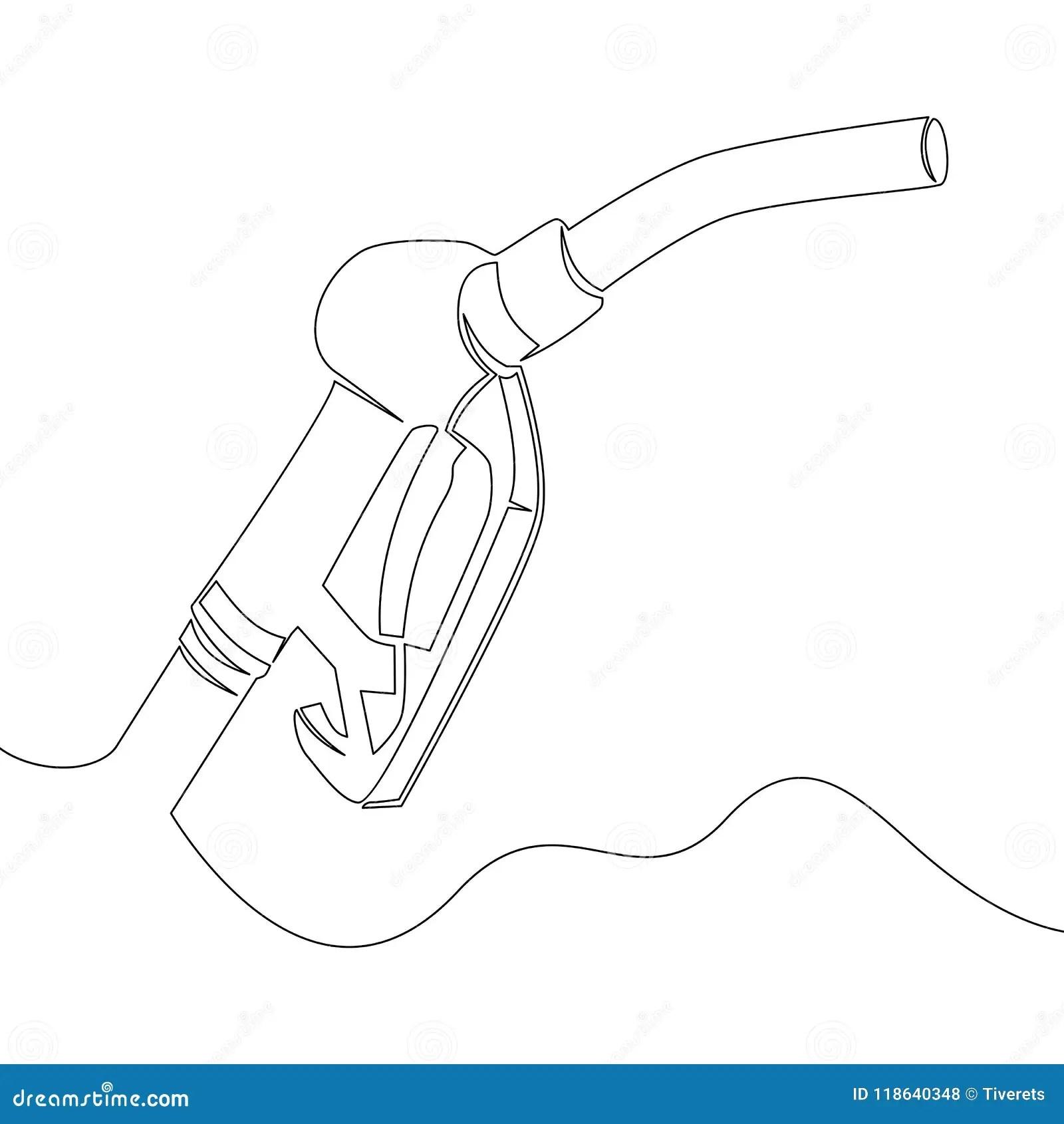 Continuous Line Drawing Gun Fuel Pump Stock Vector