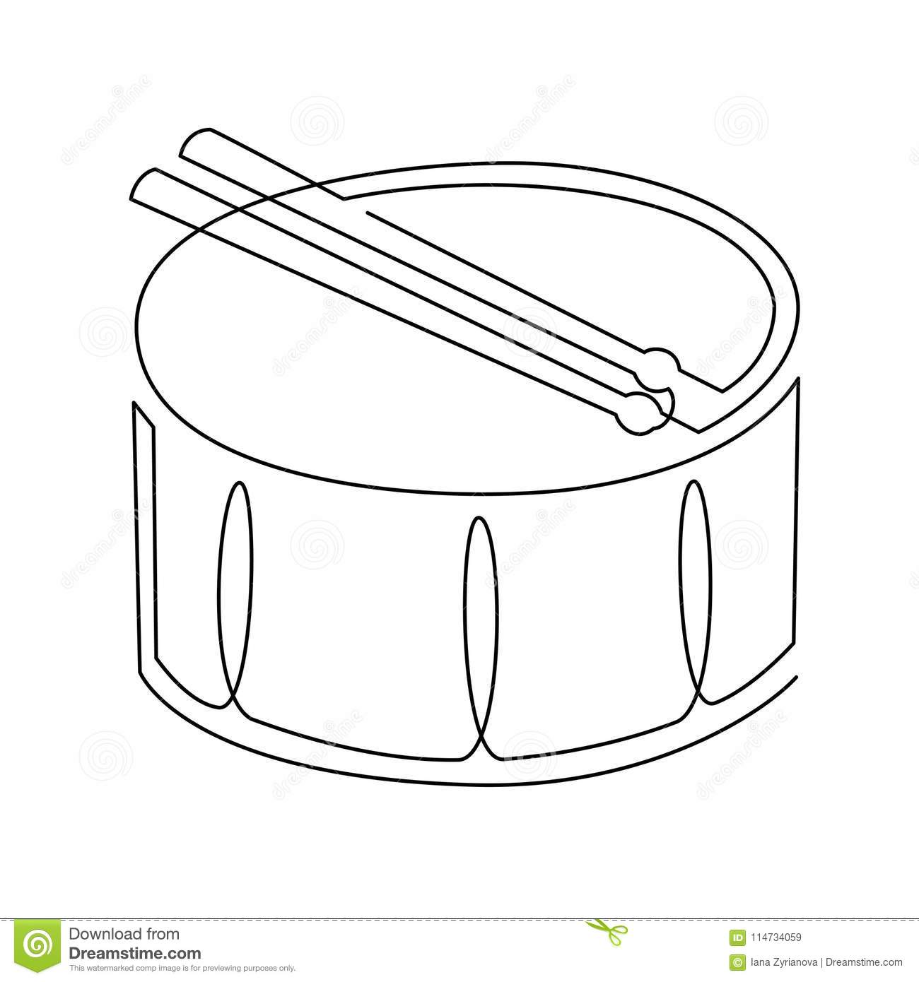 Continuous Line Drawing Of Snare Drum Vector Icon Musical Instrument Single Line For Decoration