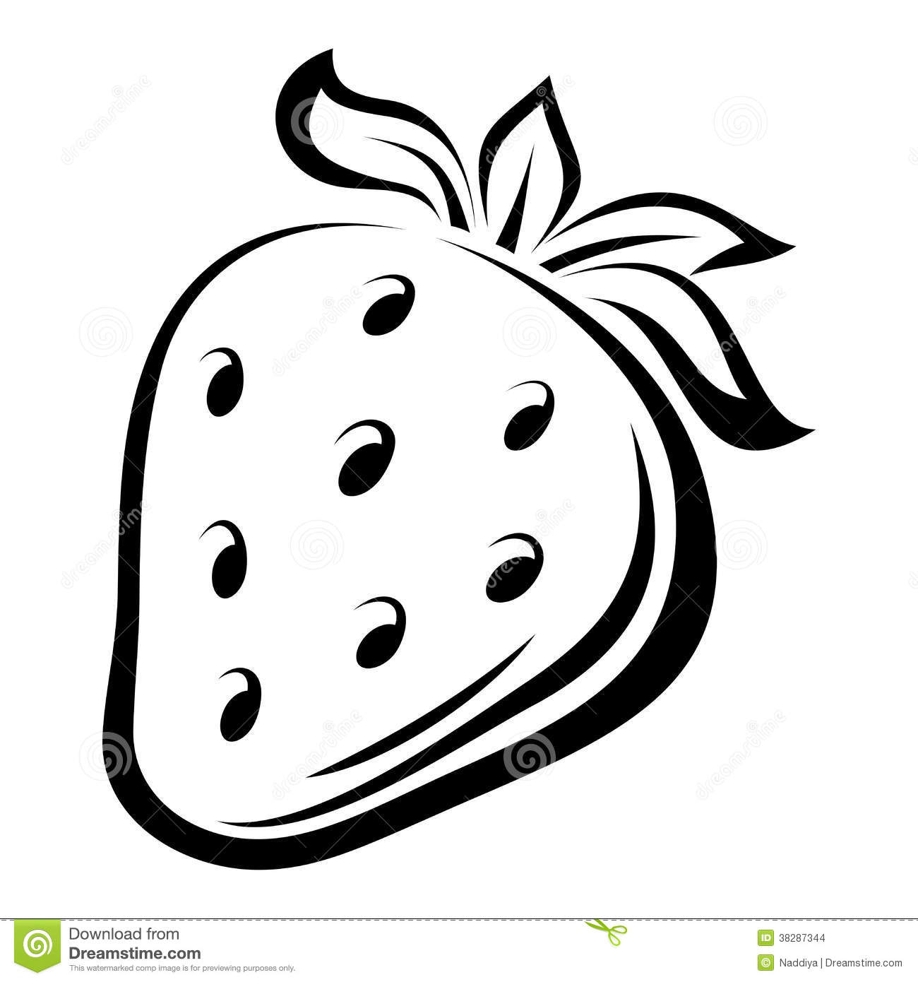 contour drawing of strawberry stock images image 38287344