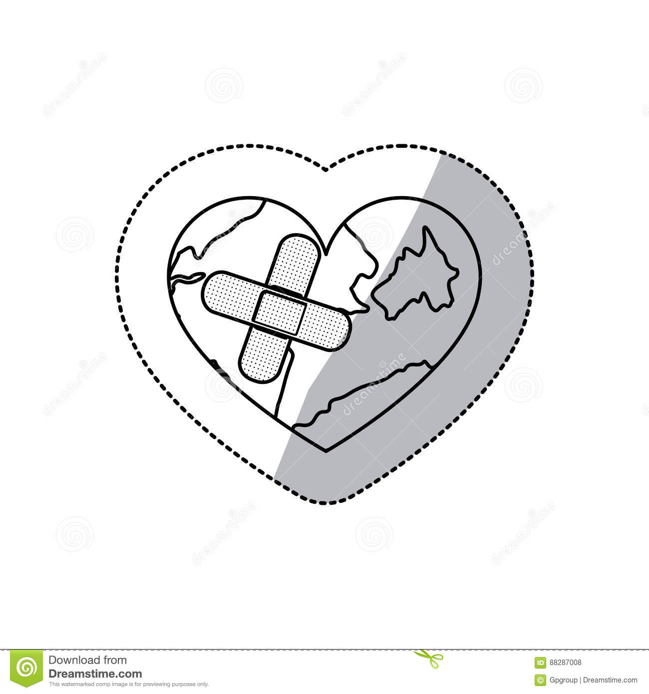 Contour Earth Planet Heart With Band Aid Icon Stock