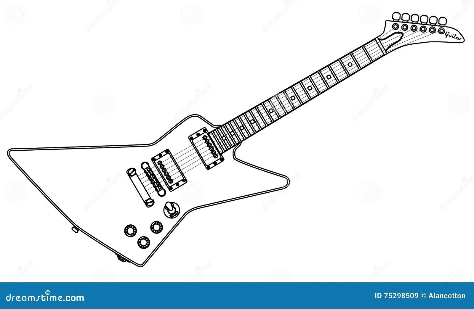 Contour Moderne De Guitare Electrique Illustration De