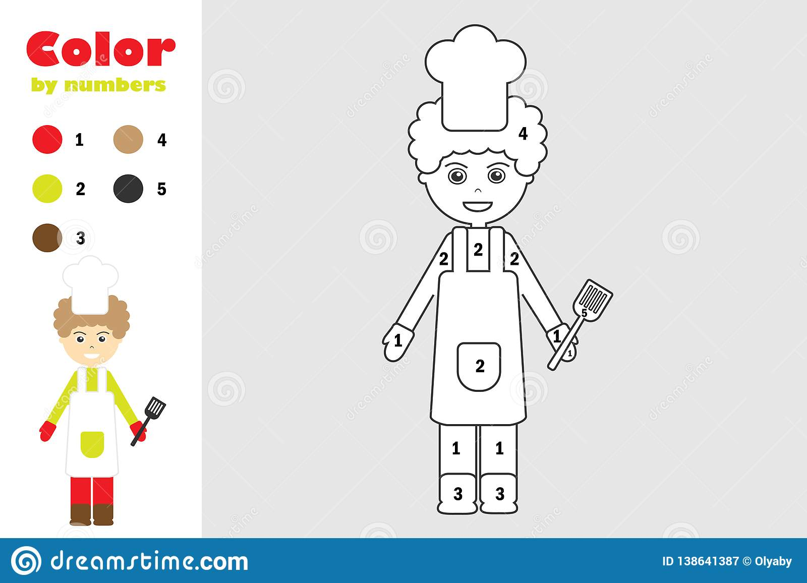 Cook In Cartoon Style Color By Number Education Paper