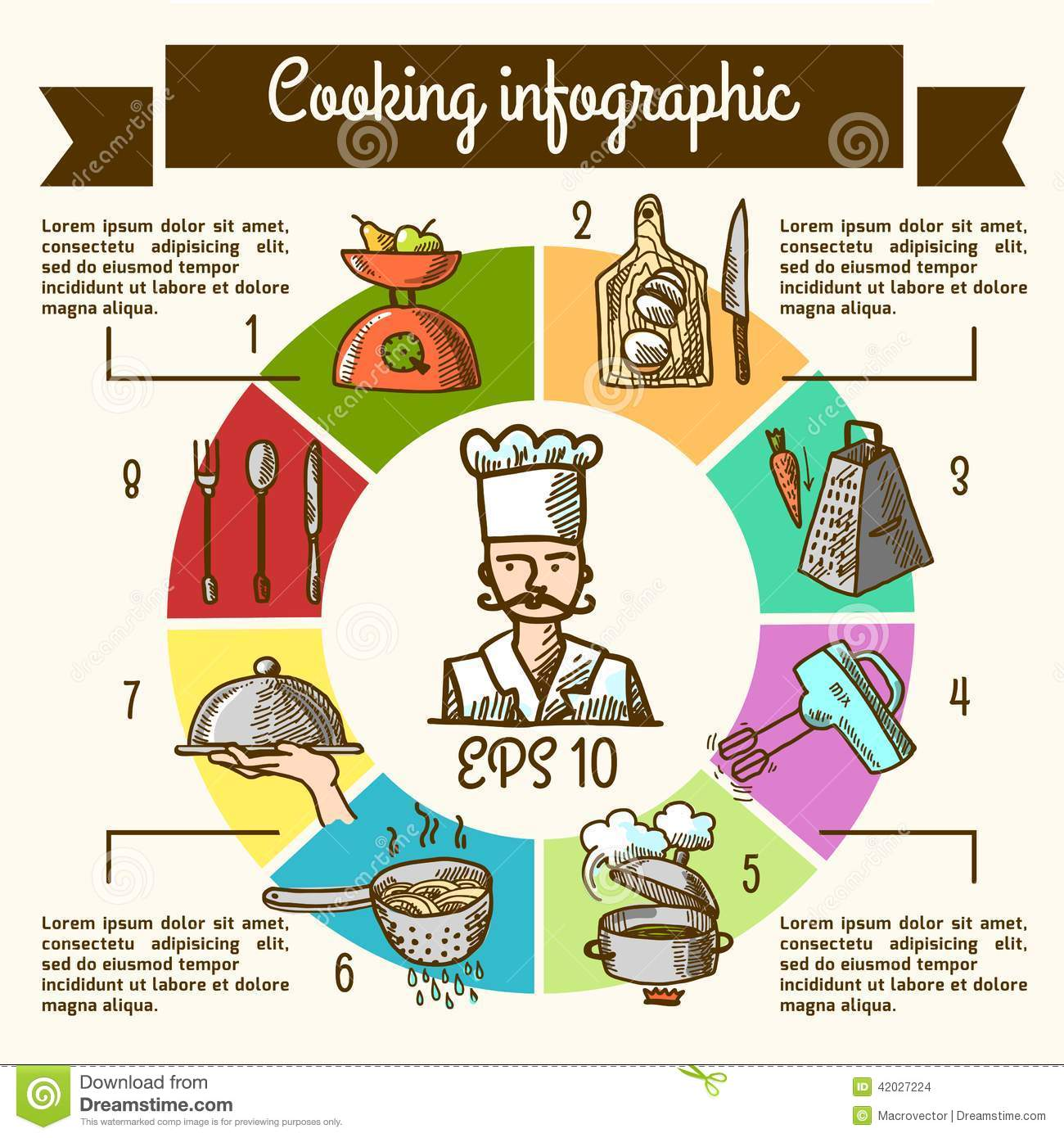 Cooking Infographic Sketch Stock Vector