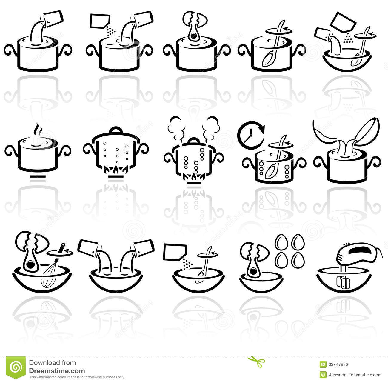 Cooking Instruction Vector Icons Set Eps 10 Royalty Free