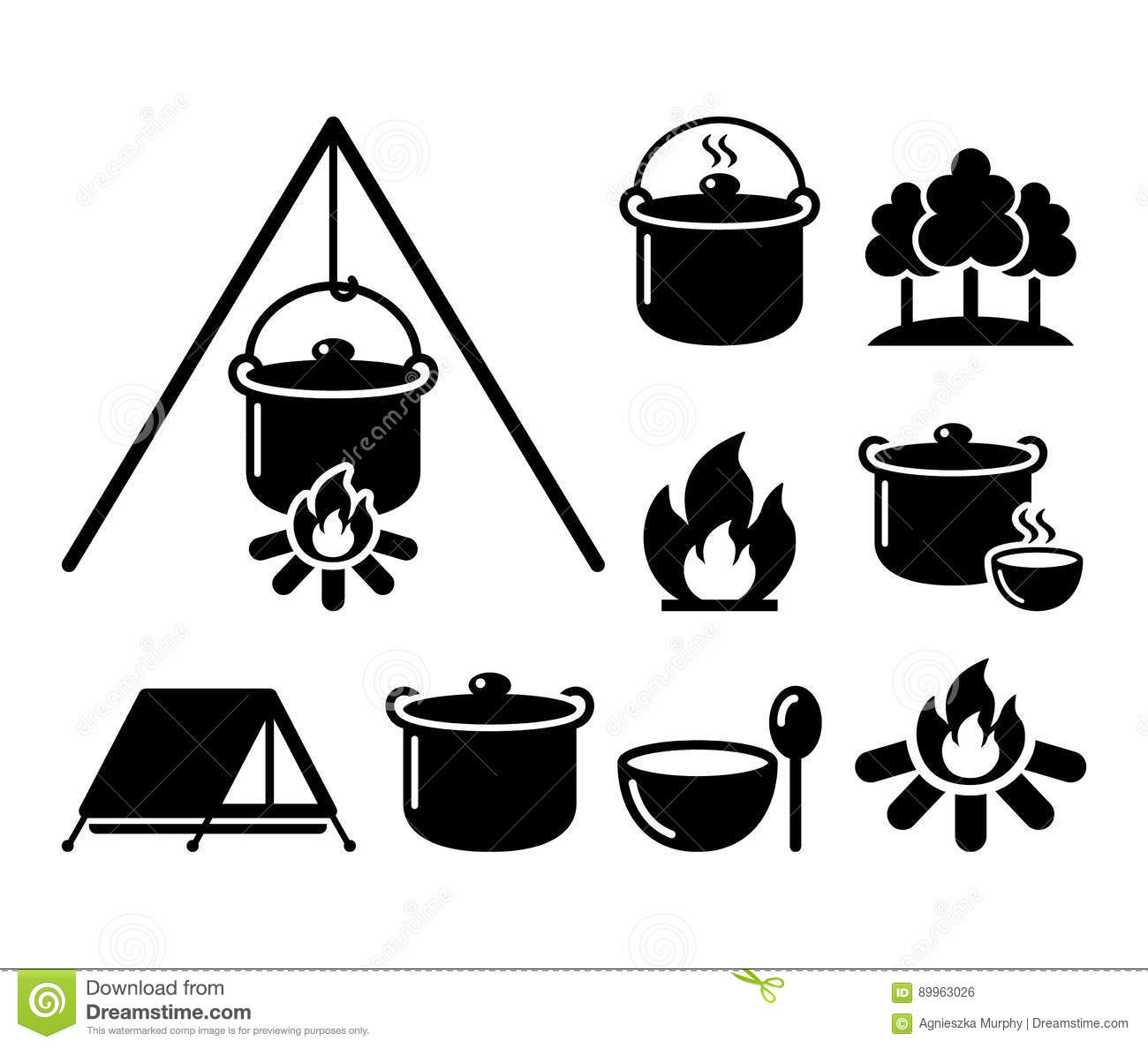 Cooking Over A Fire Campfire Cooking Hike Icons Set