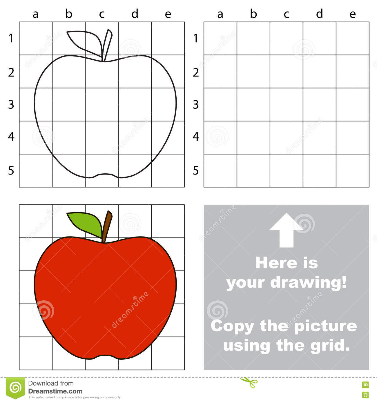 Copy The Image Using Grid Apple Stock Vector