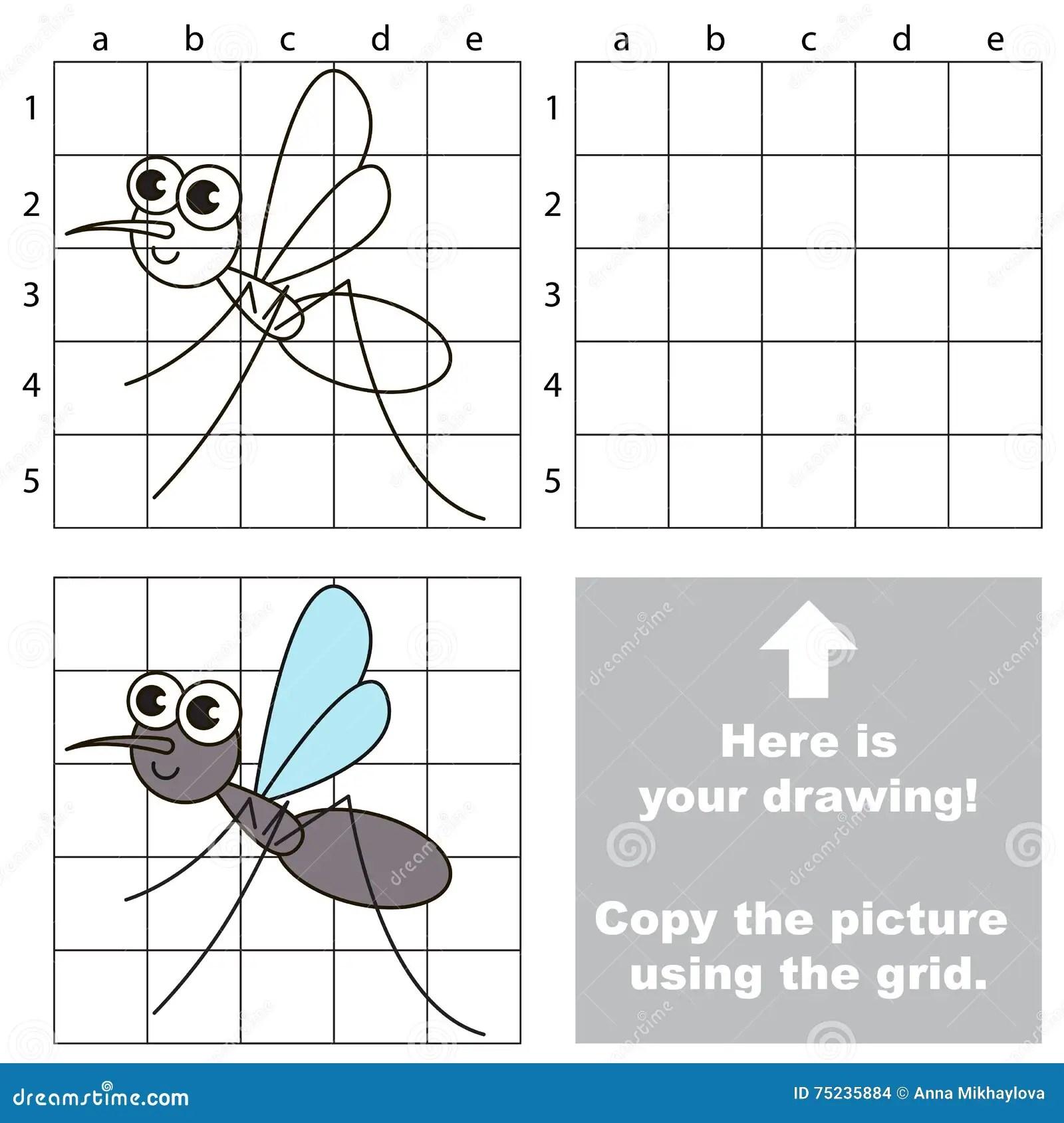 Grid Copy Children Educational Game Drawing Kids Activity Cartoon Vector