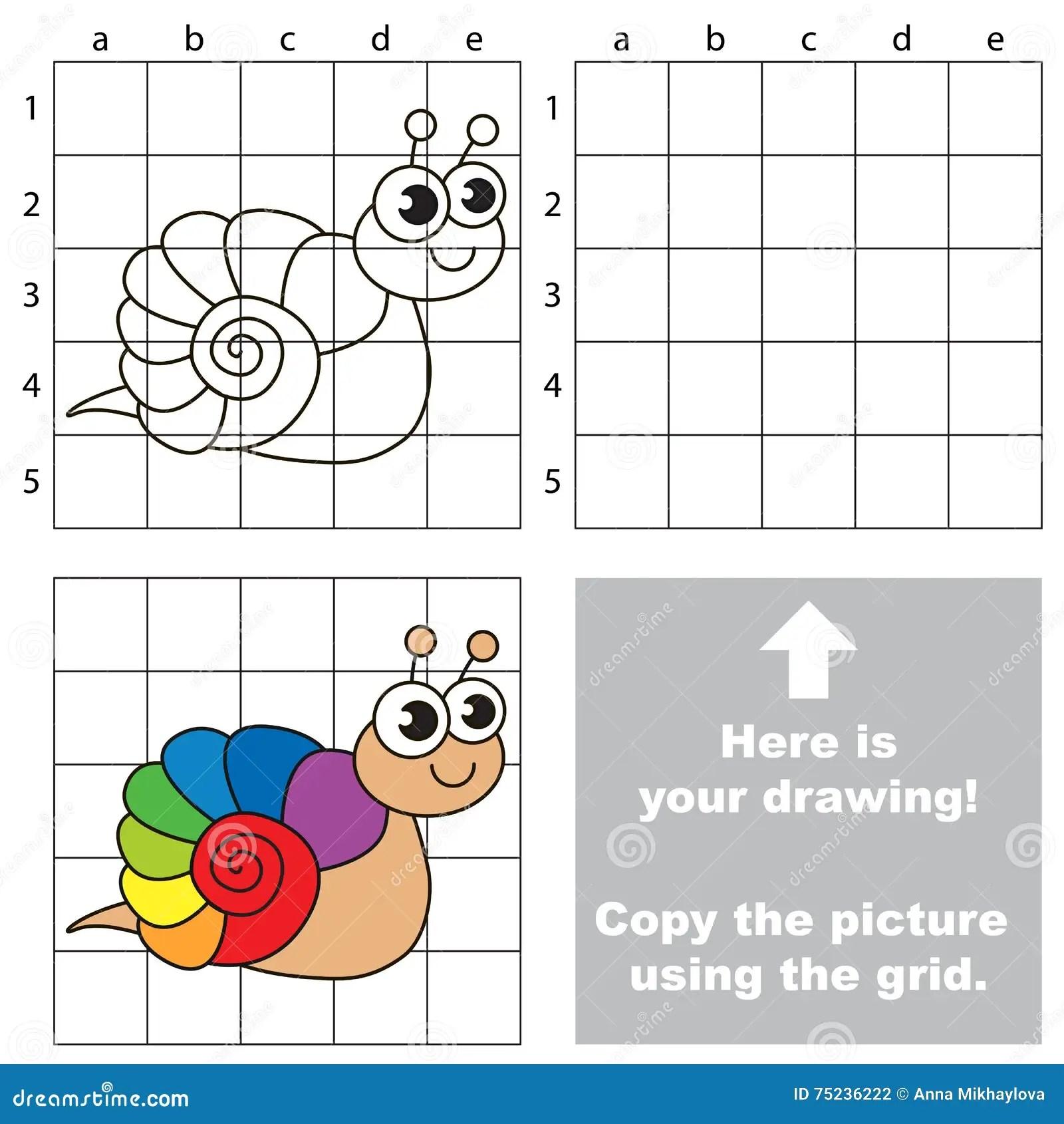 Copy The Image Using Grid Rainbow Snail Stock Vector