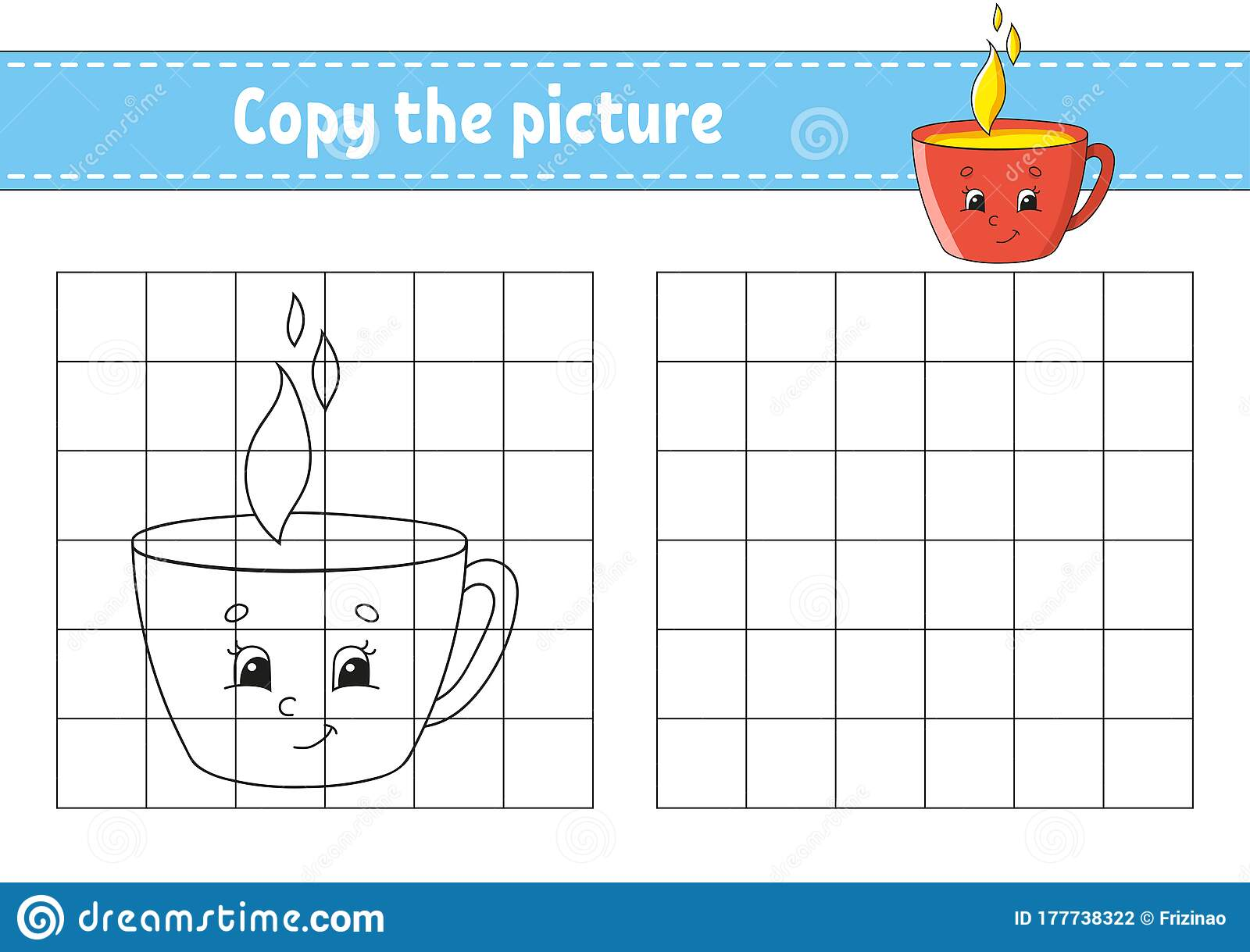 Copy The Picture Cup Coloring Book Pages For Kids