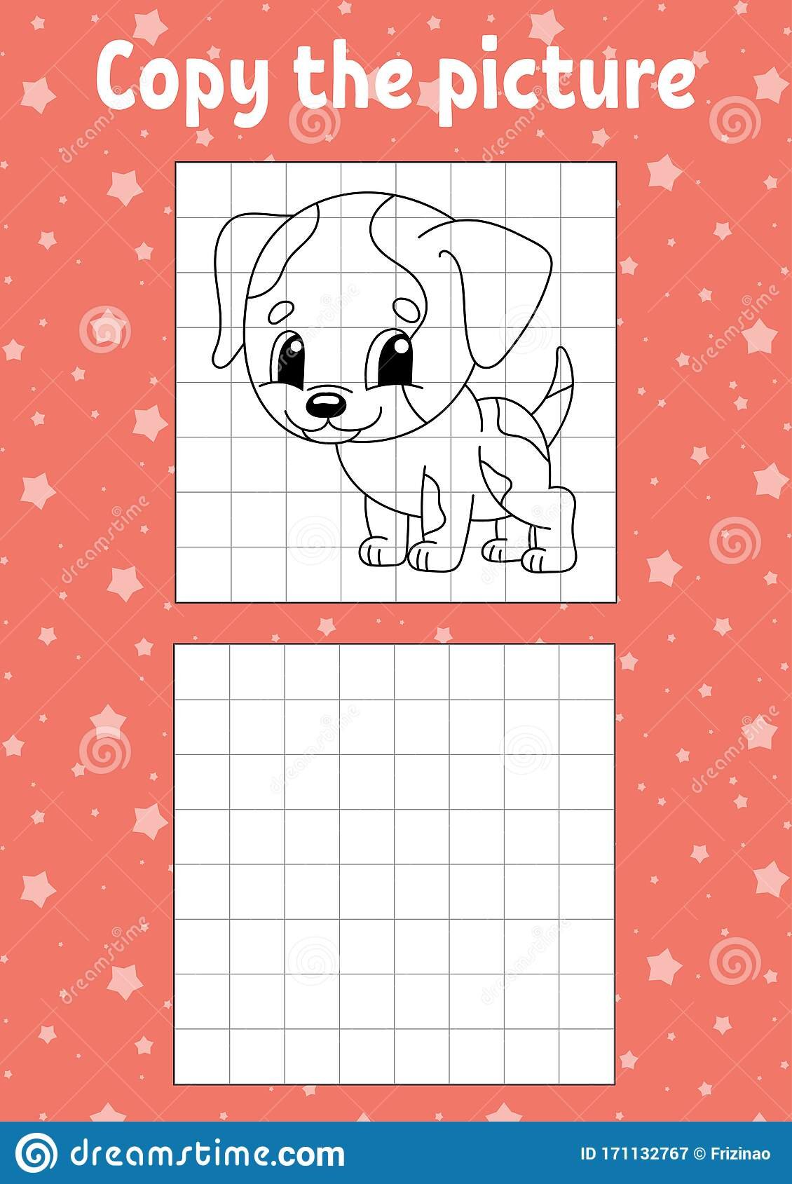Copy The Picture Dog Animal Coloring Book Pages For Kids