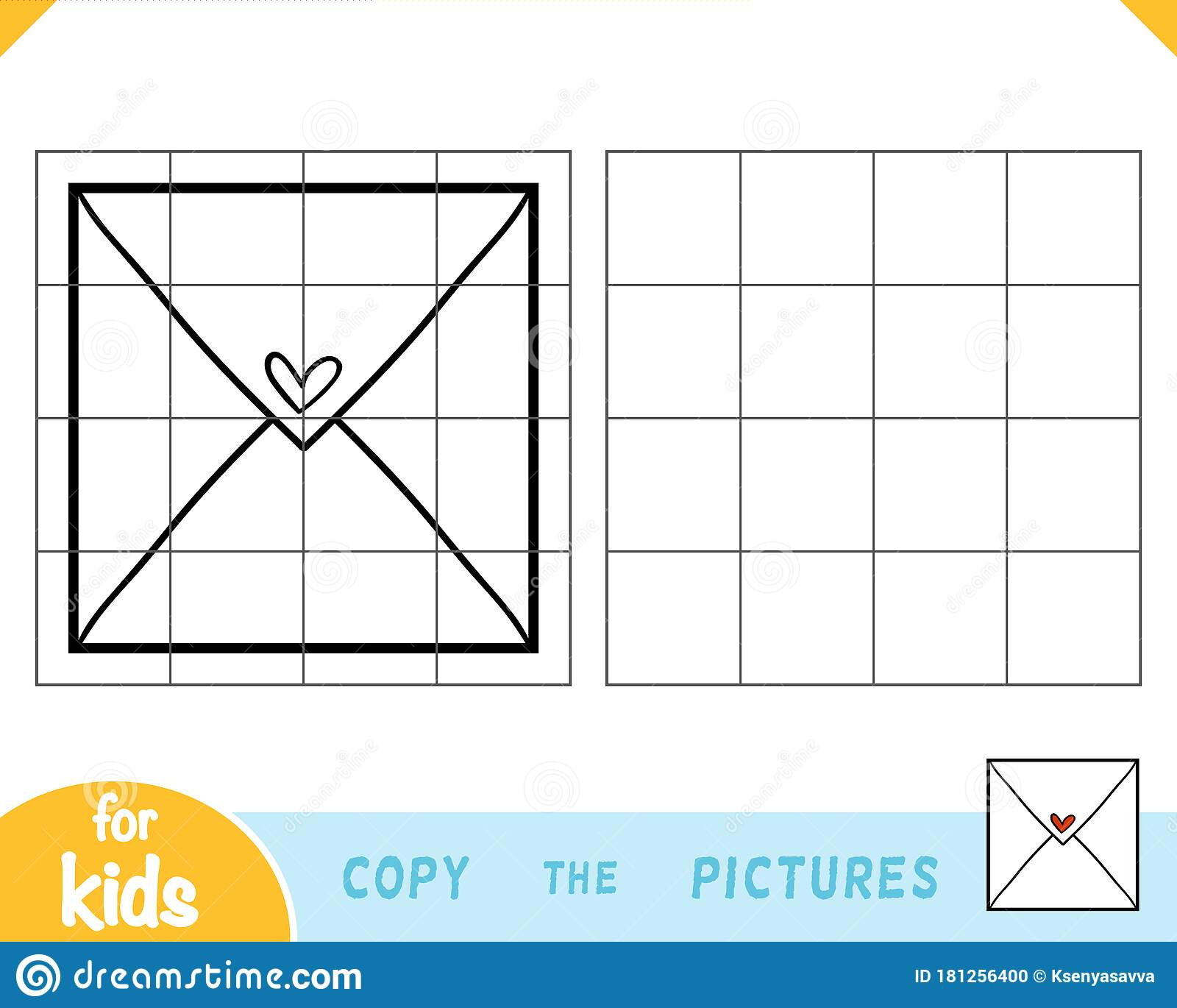 Copy The Picture Education Game Envelope Stock Vector