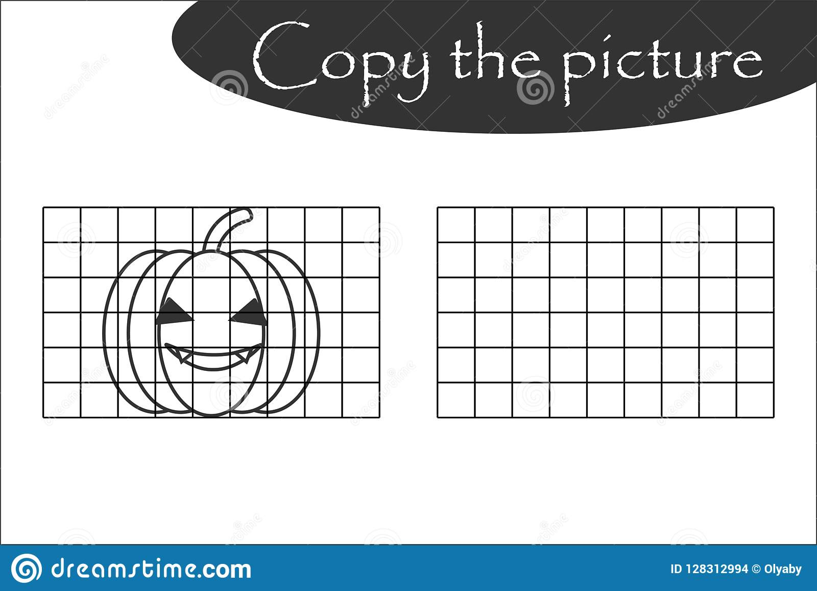 Copy The Picture Halloween Black White Pumpkin Drawing