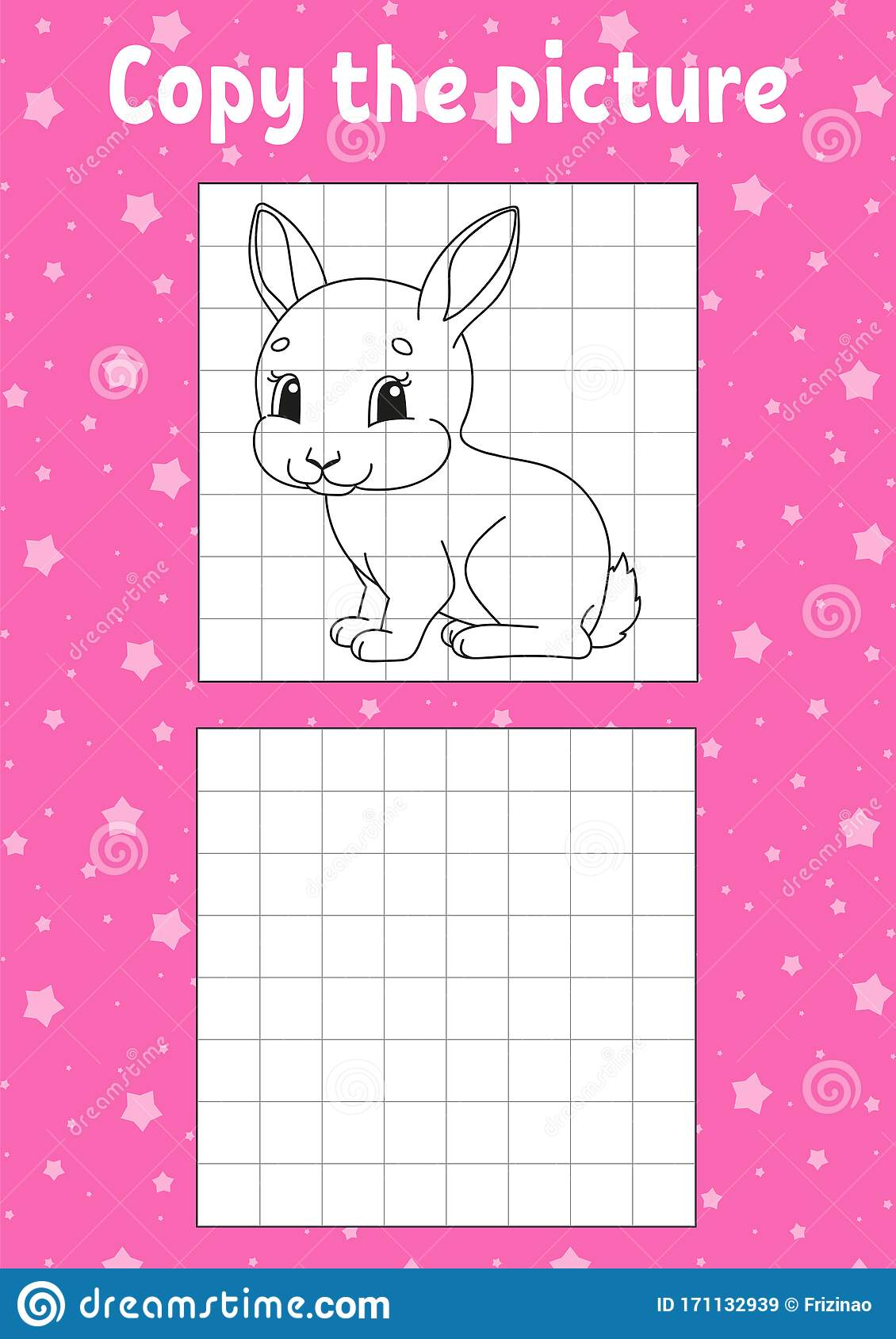 Copy The Picture Rabbit Bunny Animal Coloring Book Pages