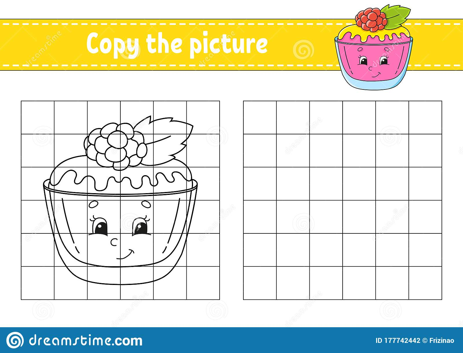 Copy The Picture Sweet Cake Coloring Book Pages For Kids