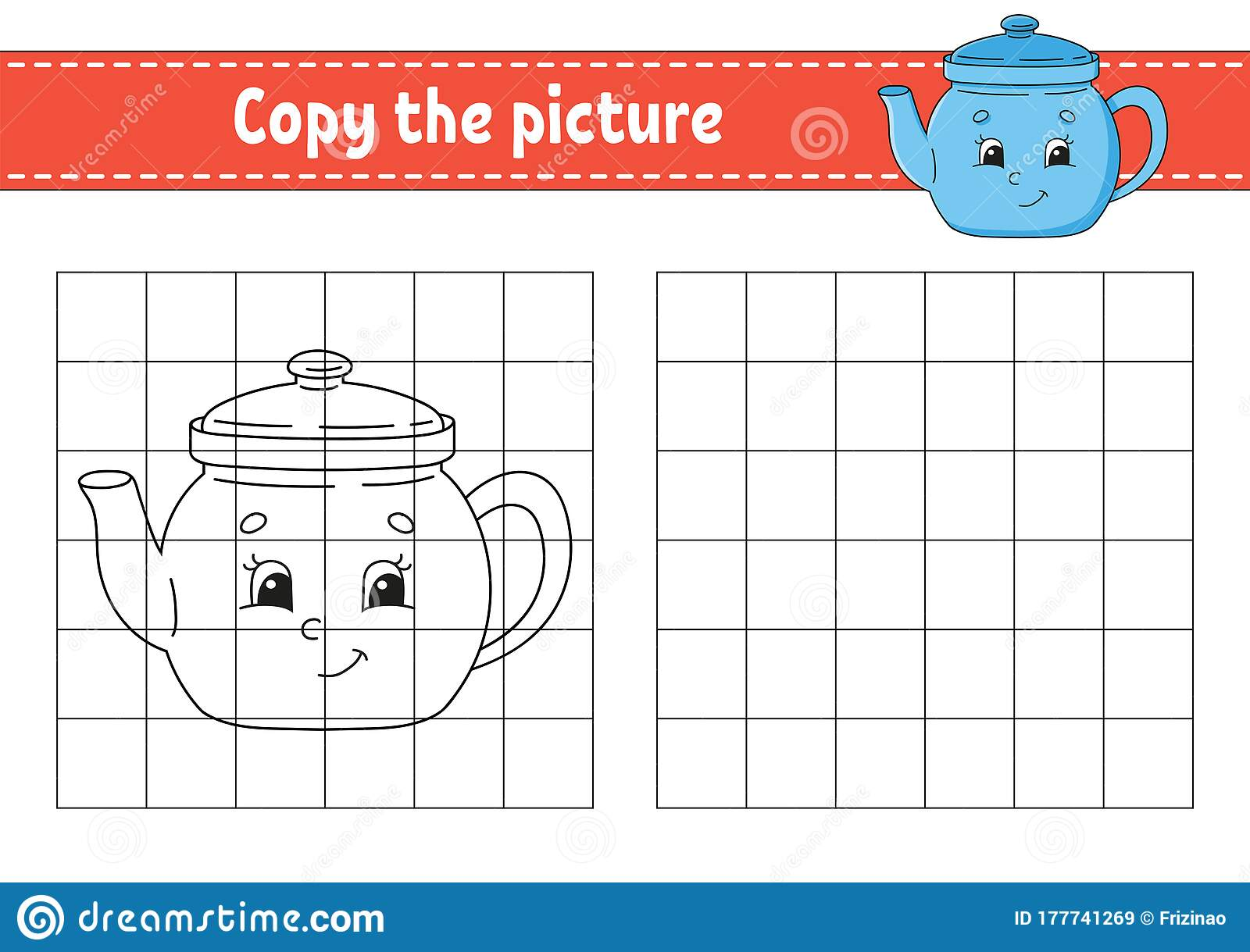 Copy The Picture Teapot Coloring Book Pages For Kids
