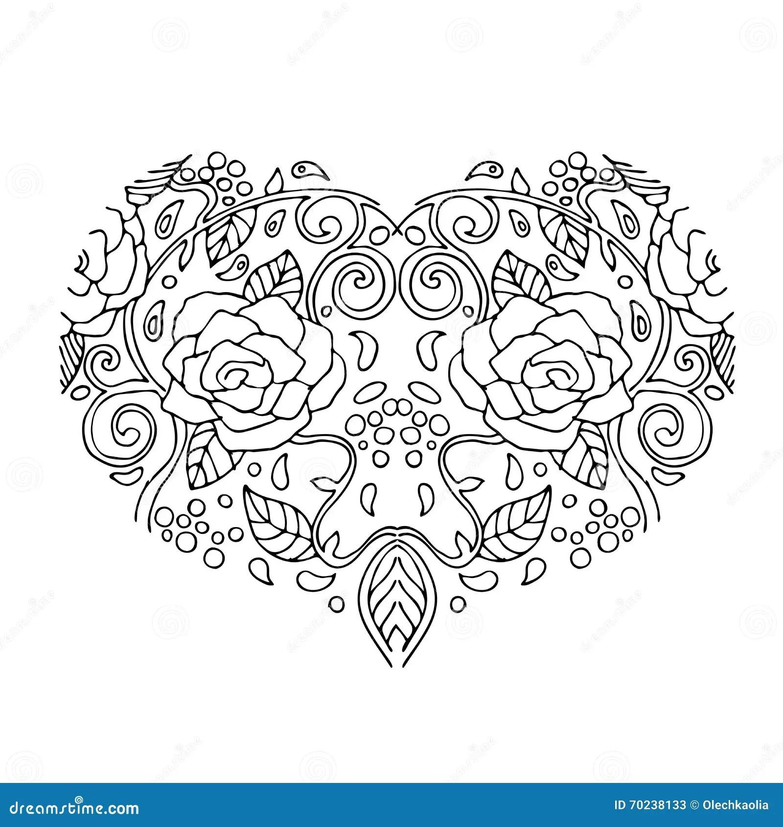 Coracao Decorativo Do Amor Com Flores Cartao Do Dia Dos