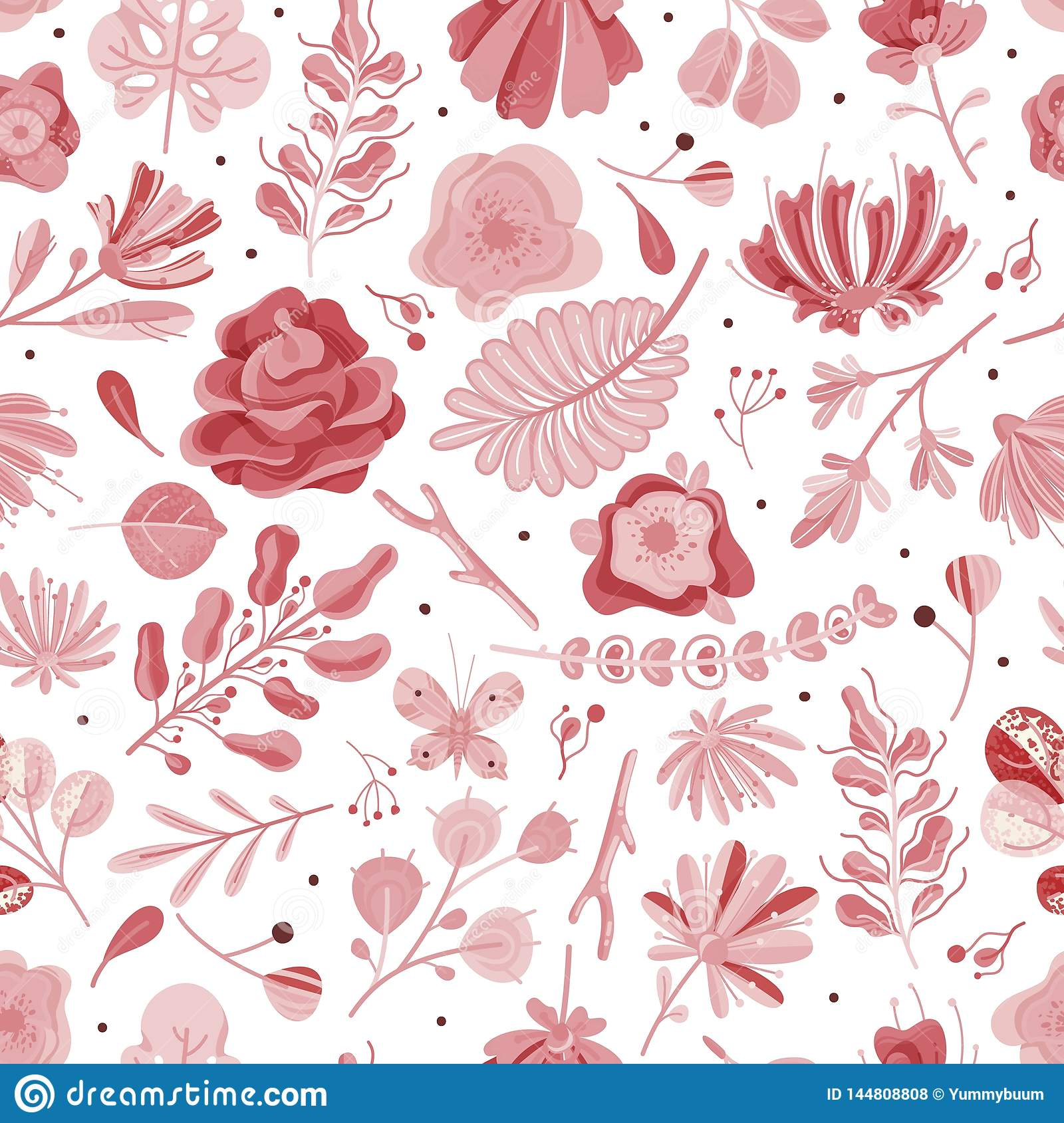 Coral Seamless Pattern Floral Spring Summer Garden Colorful Flowers Botanical Flower Vintage Texture Wallpaper Flat Stock Vector Illustration Of Natural Colorful 144808808