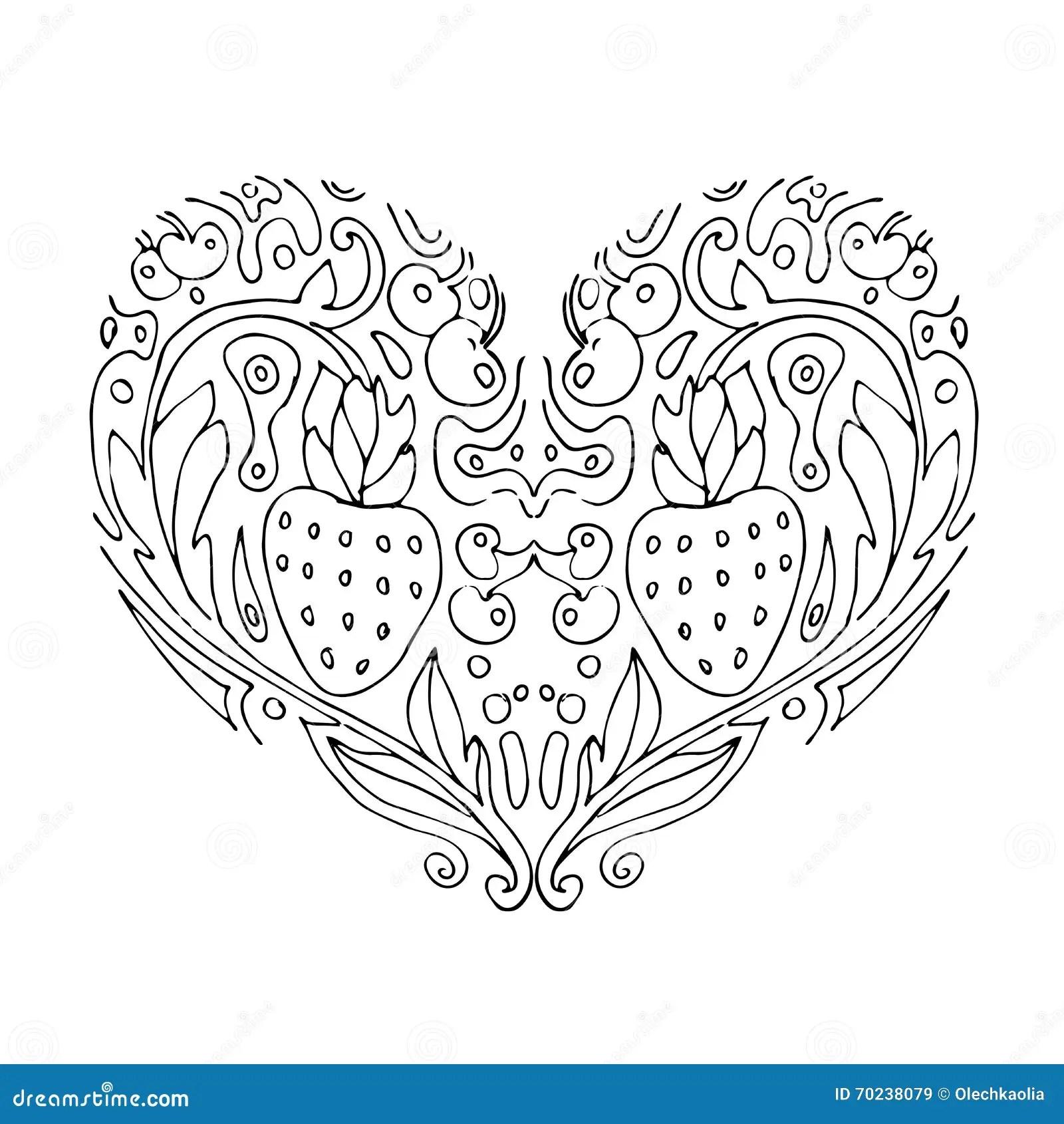 Corazon Decorativo Del Amor Con Las Flores Y Las Bayas