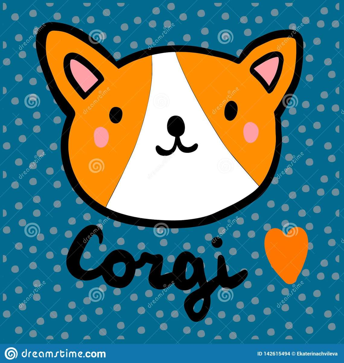 Download Corgi Love Hand Drawn Illustration In Cartoon Style Stock ...