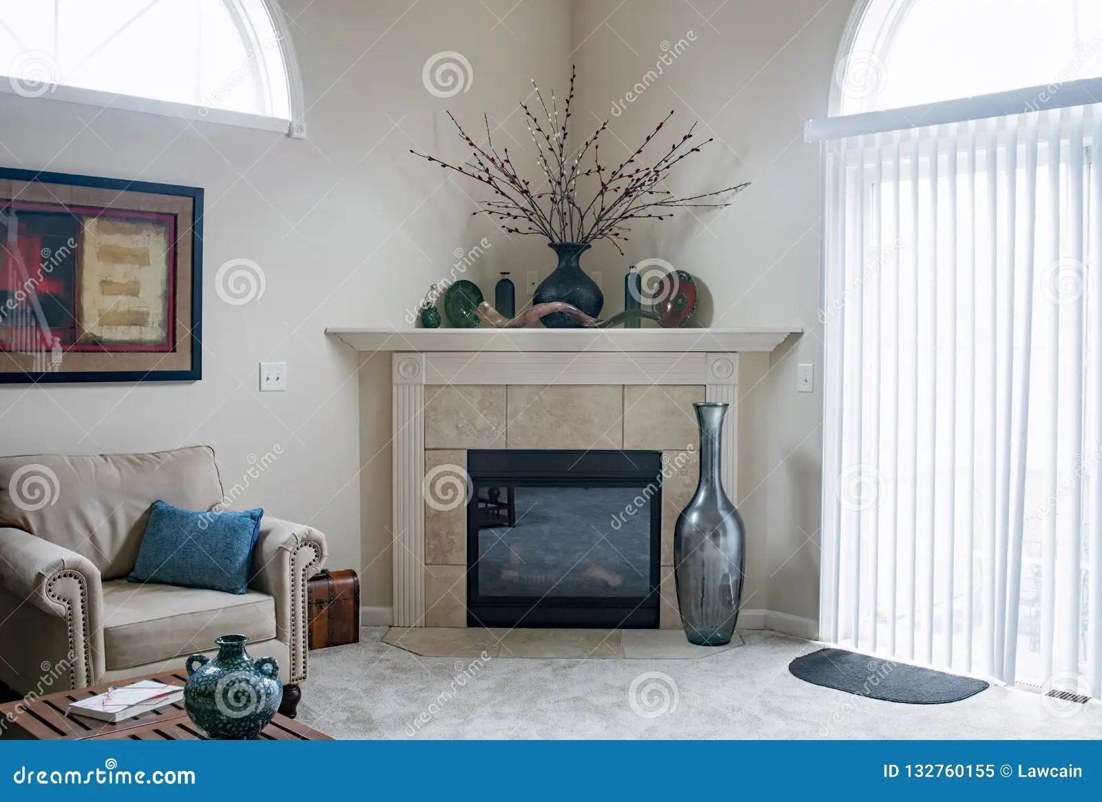 https www dreamstime com corner fireplace tan tile dayton ohio usa november contemporary living room carpeted floors image132760155