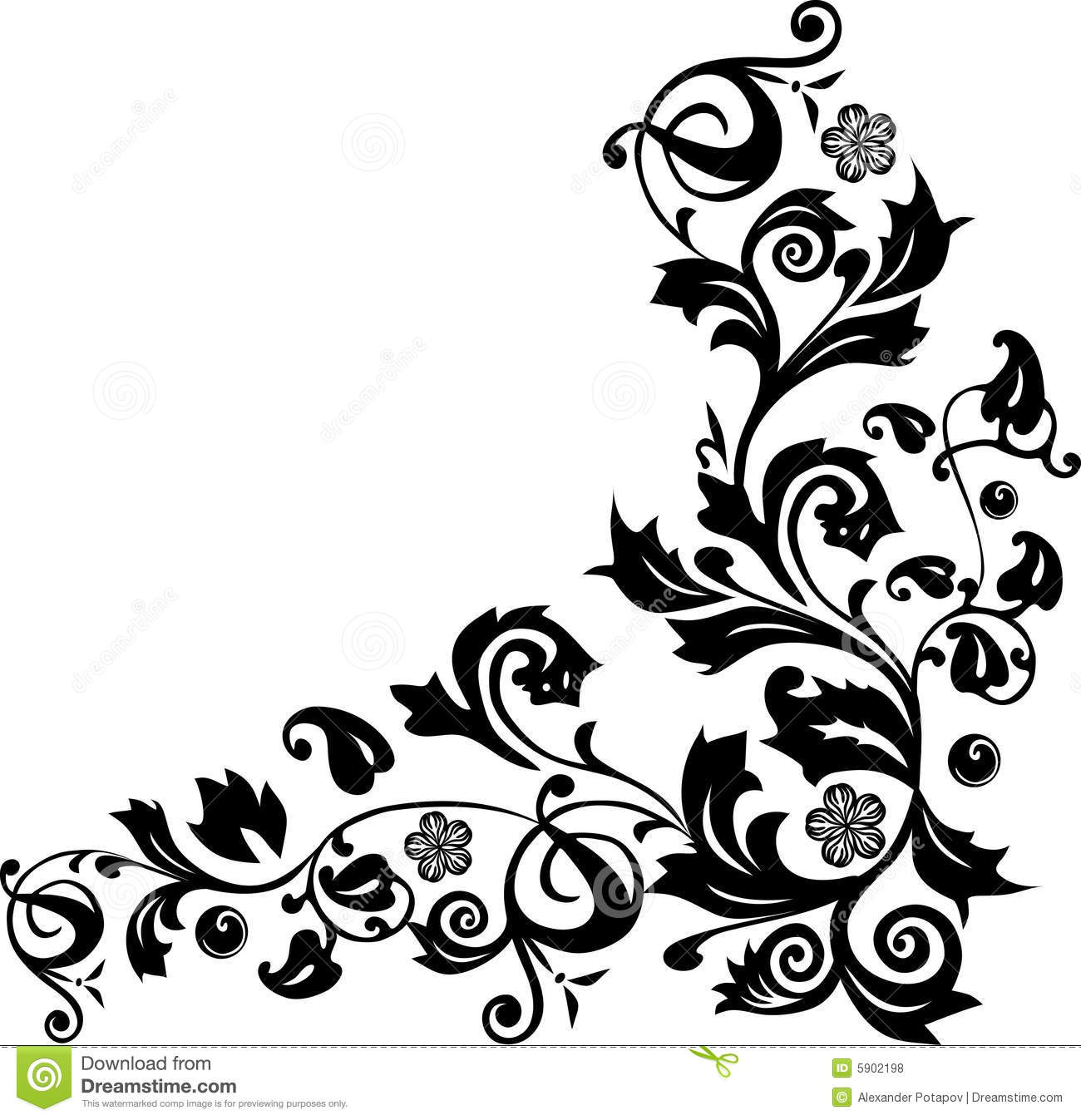 Corner With Flower Ornament Royalty Free Stock Photos