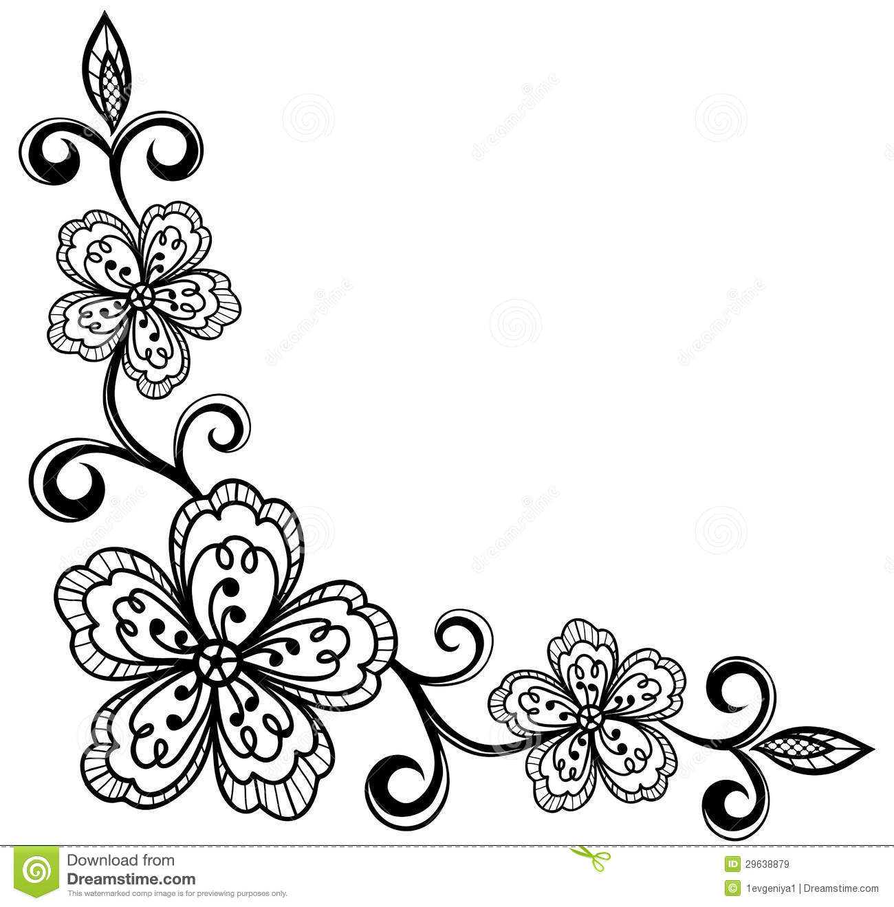 Corner Ornamental Lace Flowers Black And White Royalty