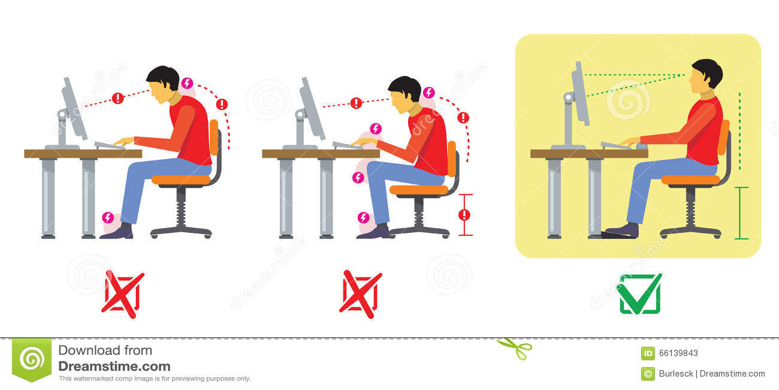 Good Sitting Posture Cartoon