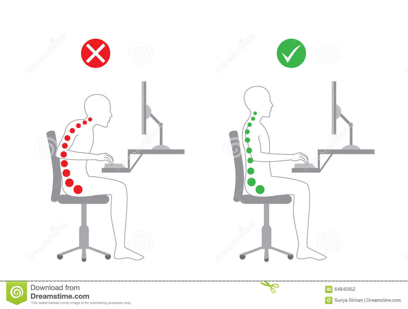 Correct Posture In Sitting Working Stock Vector