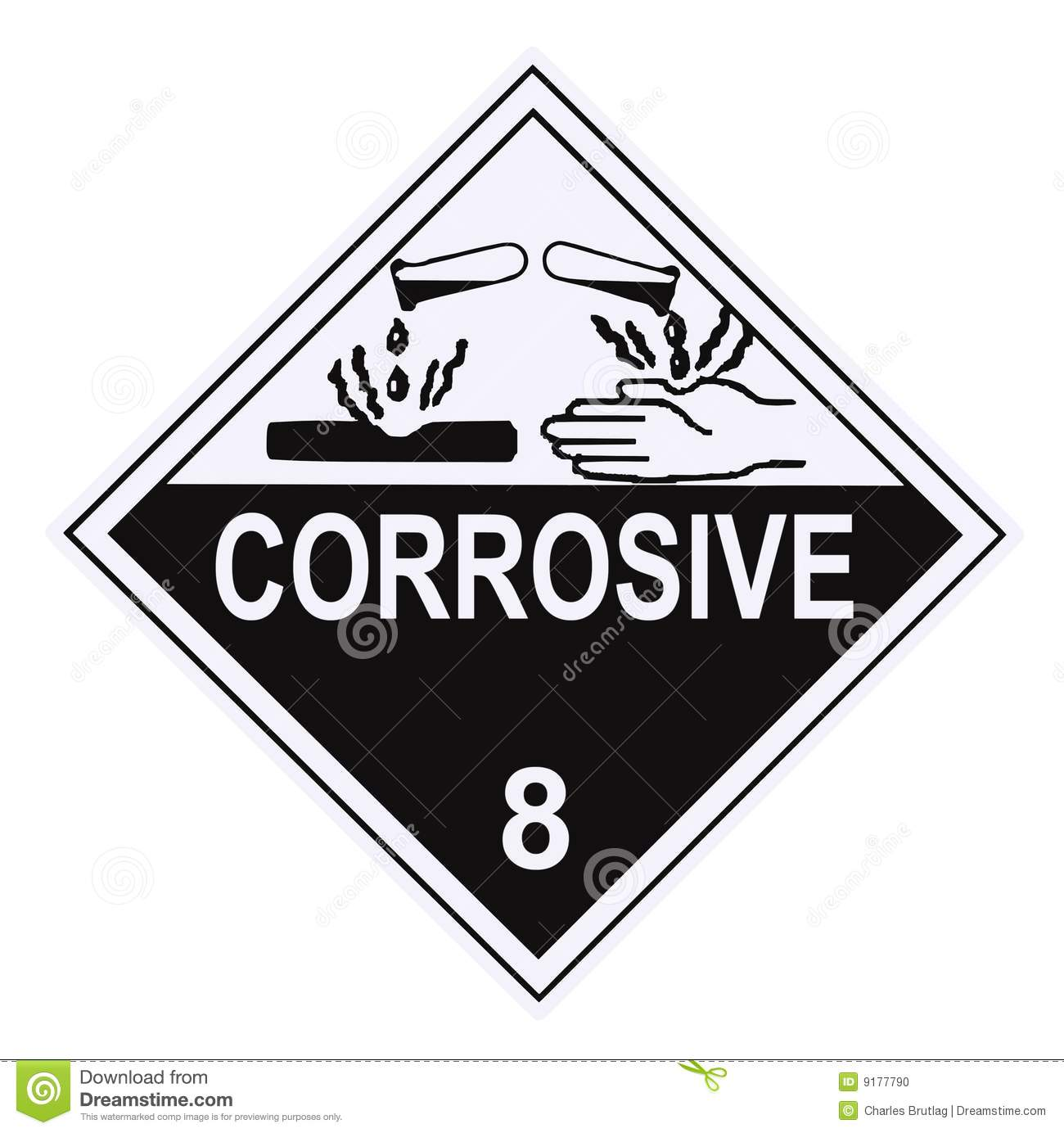Corrosive Warning Label Stock Photo Image Of Placard
