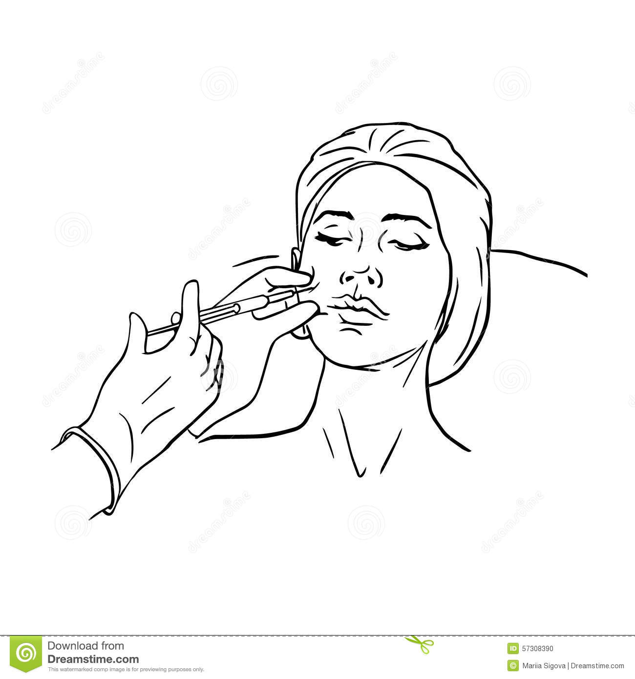 Cosmetic Injection In The Female Face Vector Stock Vector