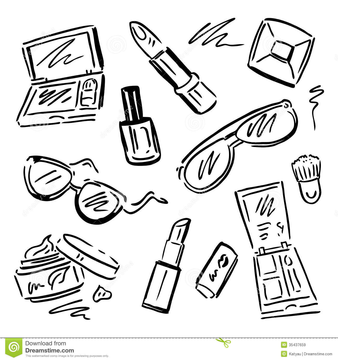 Cosmetics Makeup Set Stock Illustration Illustration Of