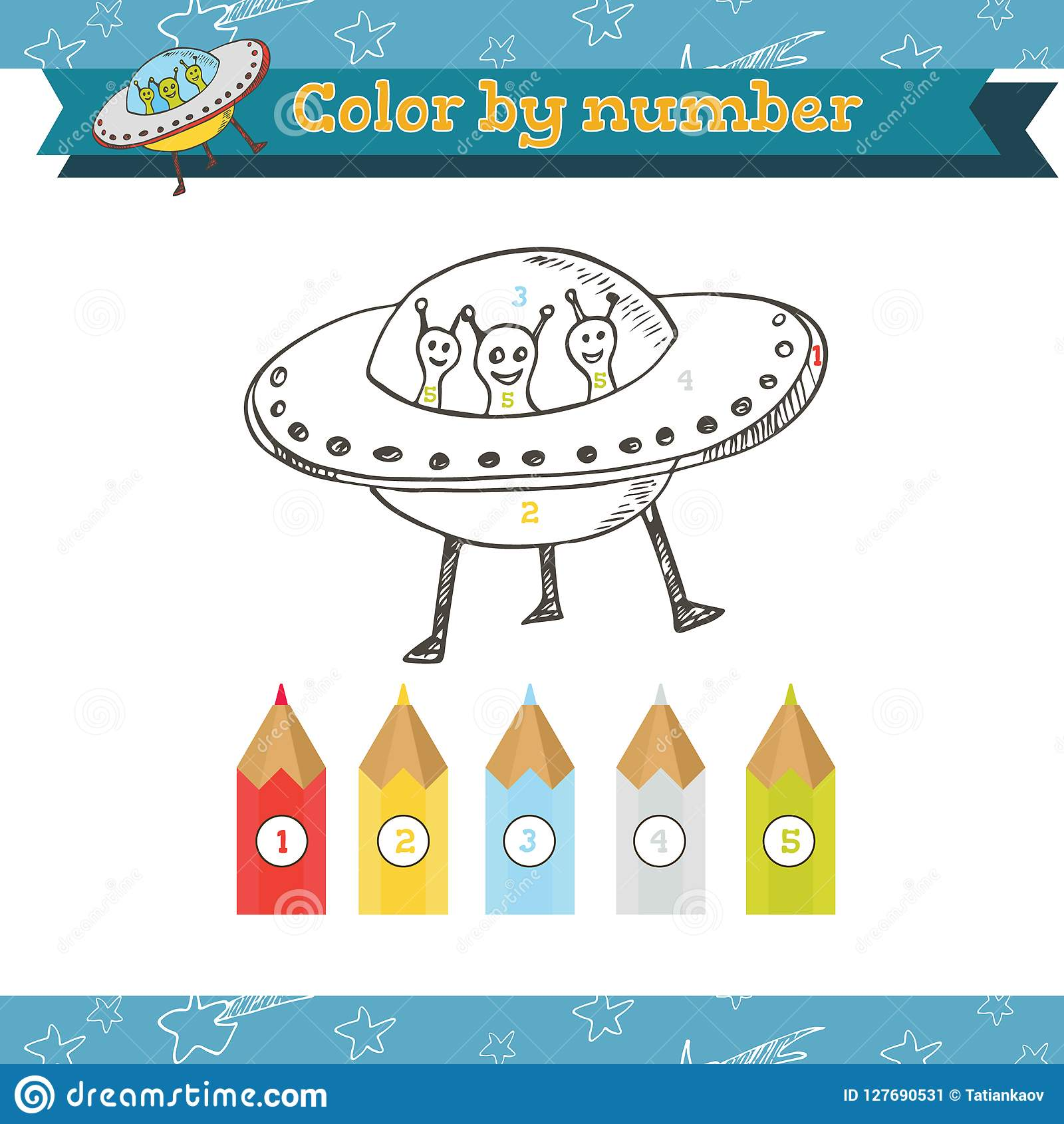 Cosmos Color By Number Preschool Or Kindergarten Worksheet