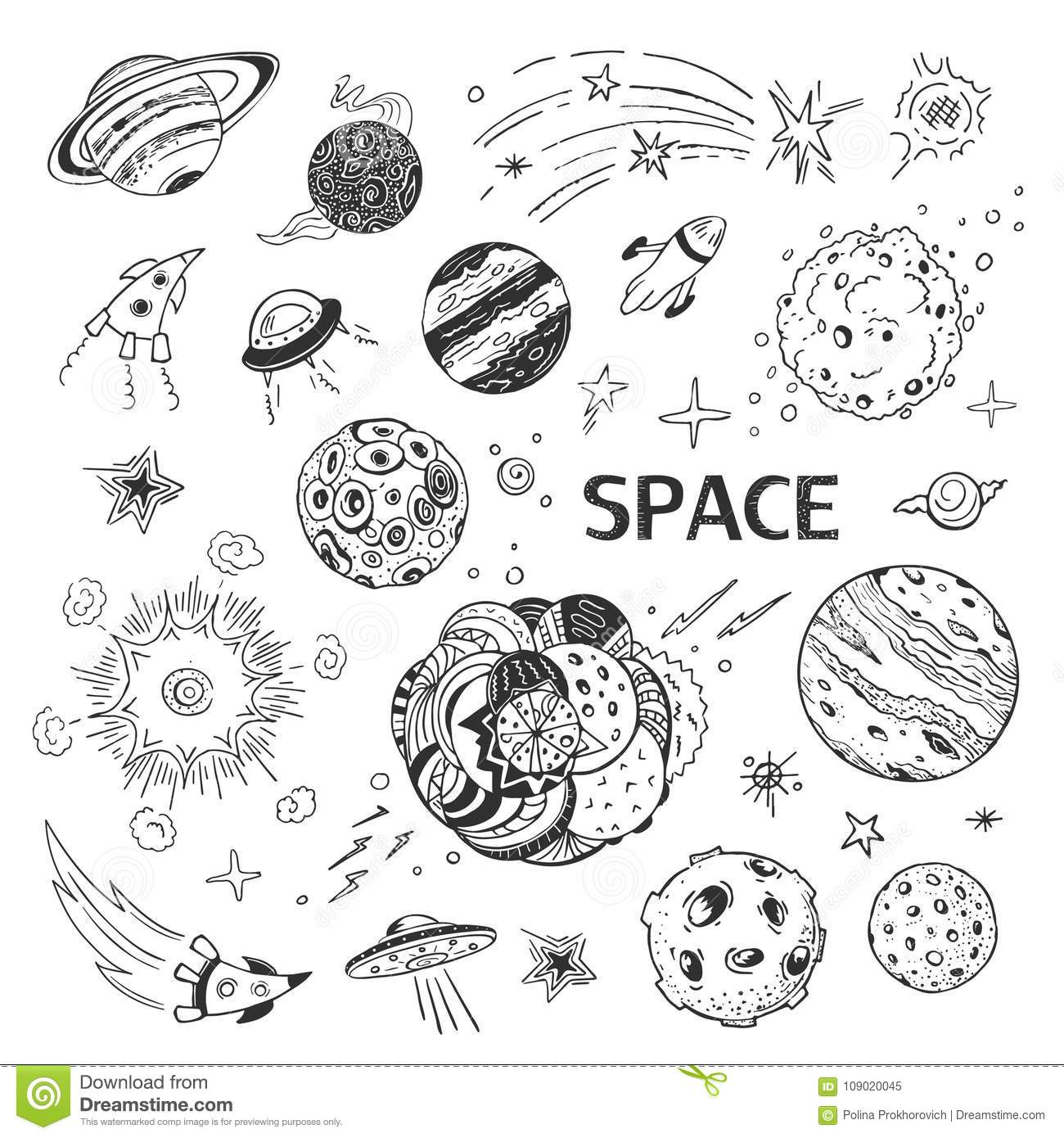 Cosmos Planets Llection Of Vector Hand Drawings Stock