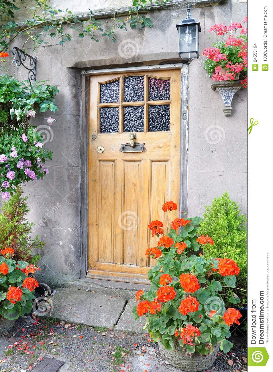 Cottage Front Door Stock Photo Image Of Color Buildings