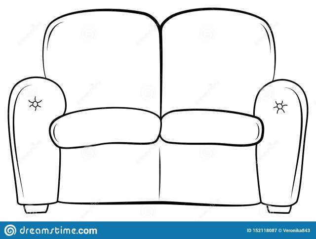 Couch Outline Icon. Hand Drawn Sketch Sofa. Vector Illustration