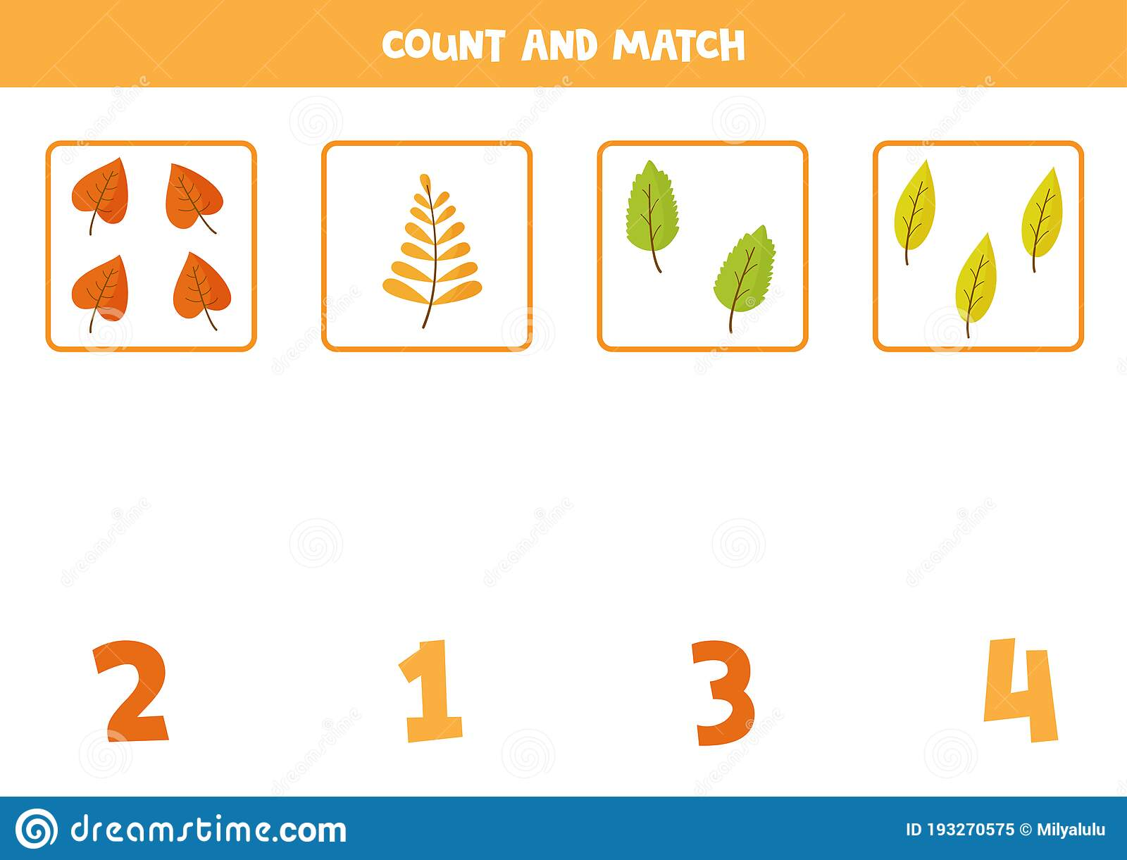 Counting Autumn Leaves Math Game For Preschoolers Stock