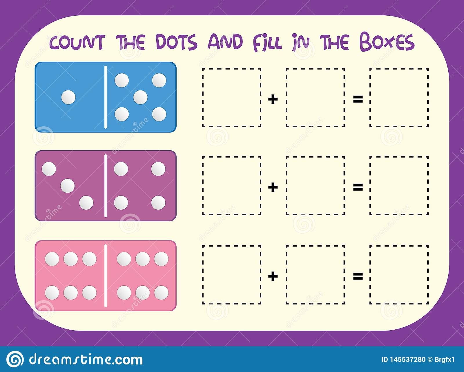 Count The Dots Worksheet Stock Vector Illustration Of