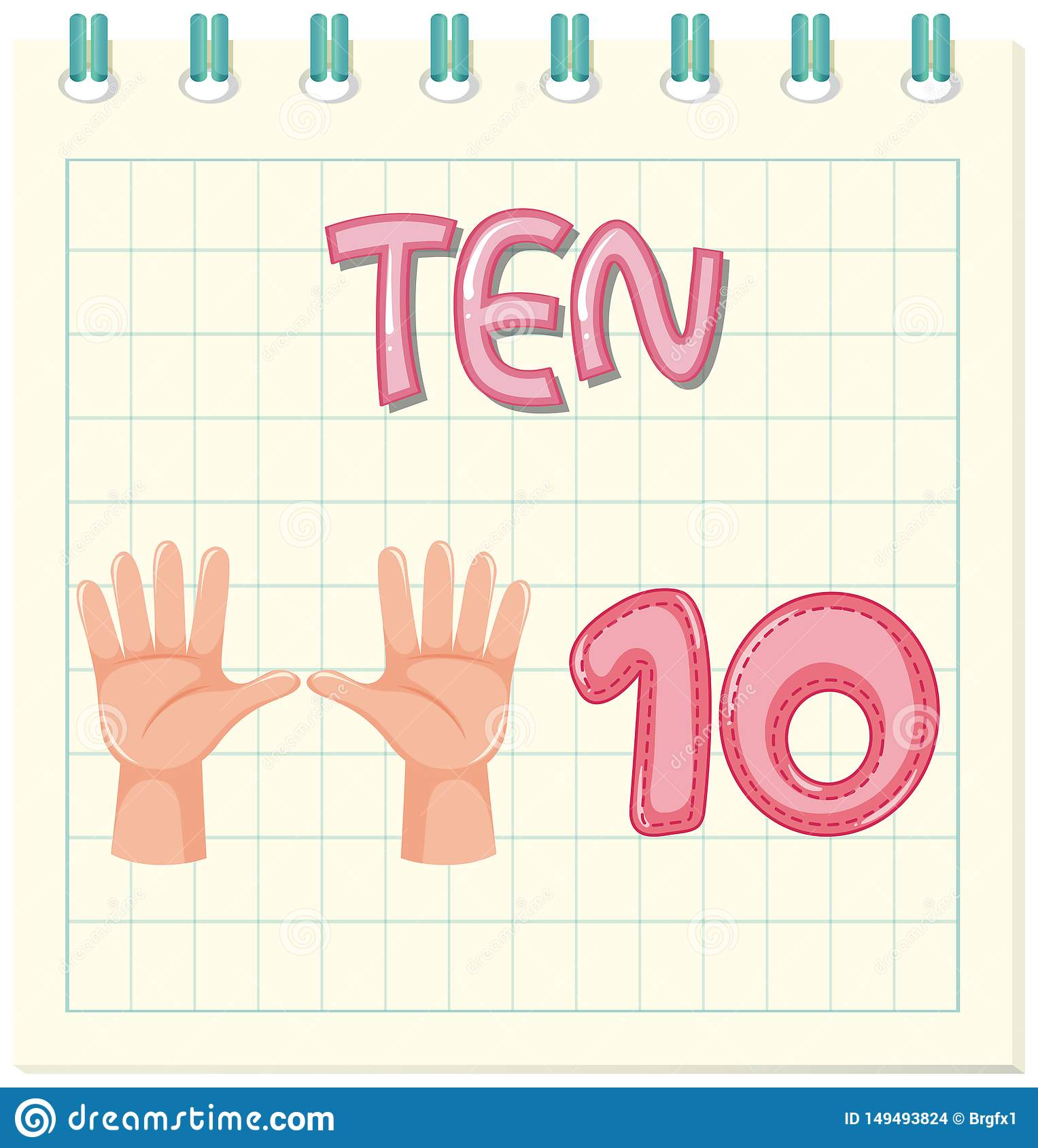 Count Number Ten Worksheet Stock Vector Illustration Of