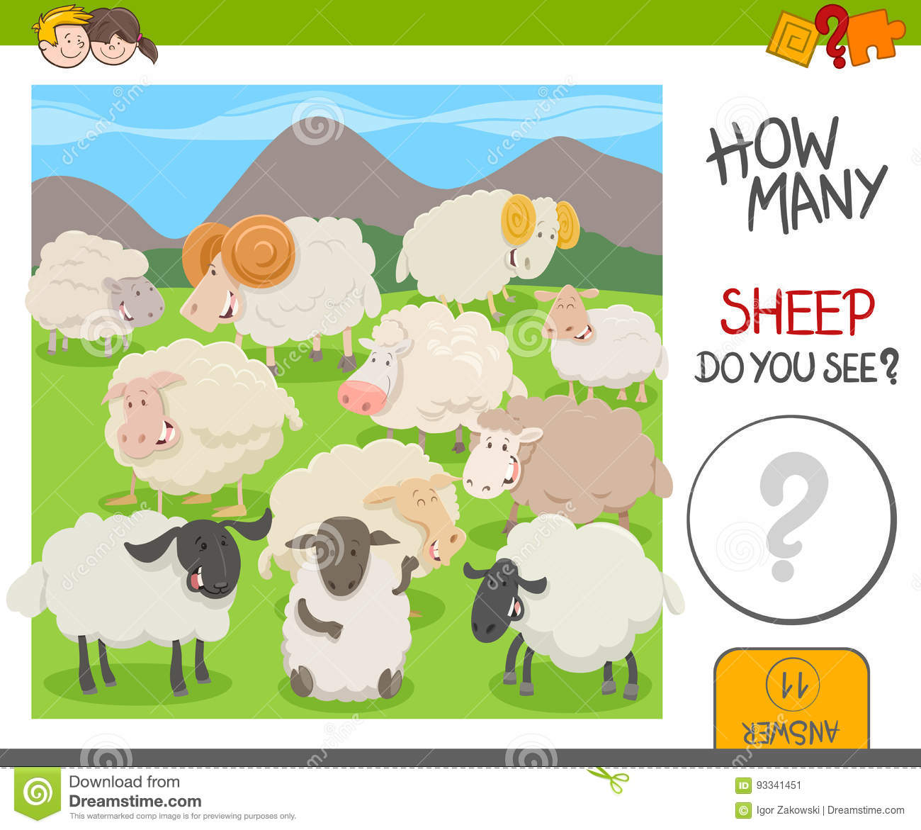 Count The Sheep Activity Worksheet Stock Vector