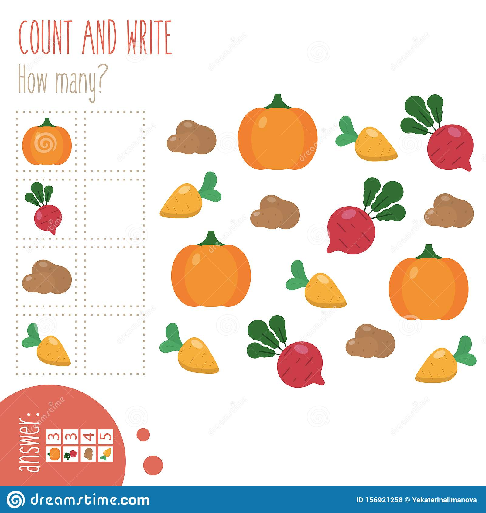Count And Write Worksheet How Many Stock Vector