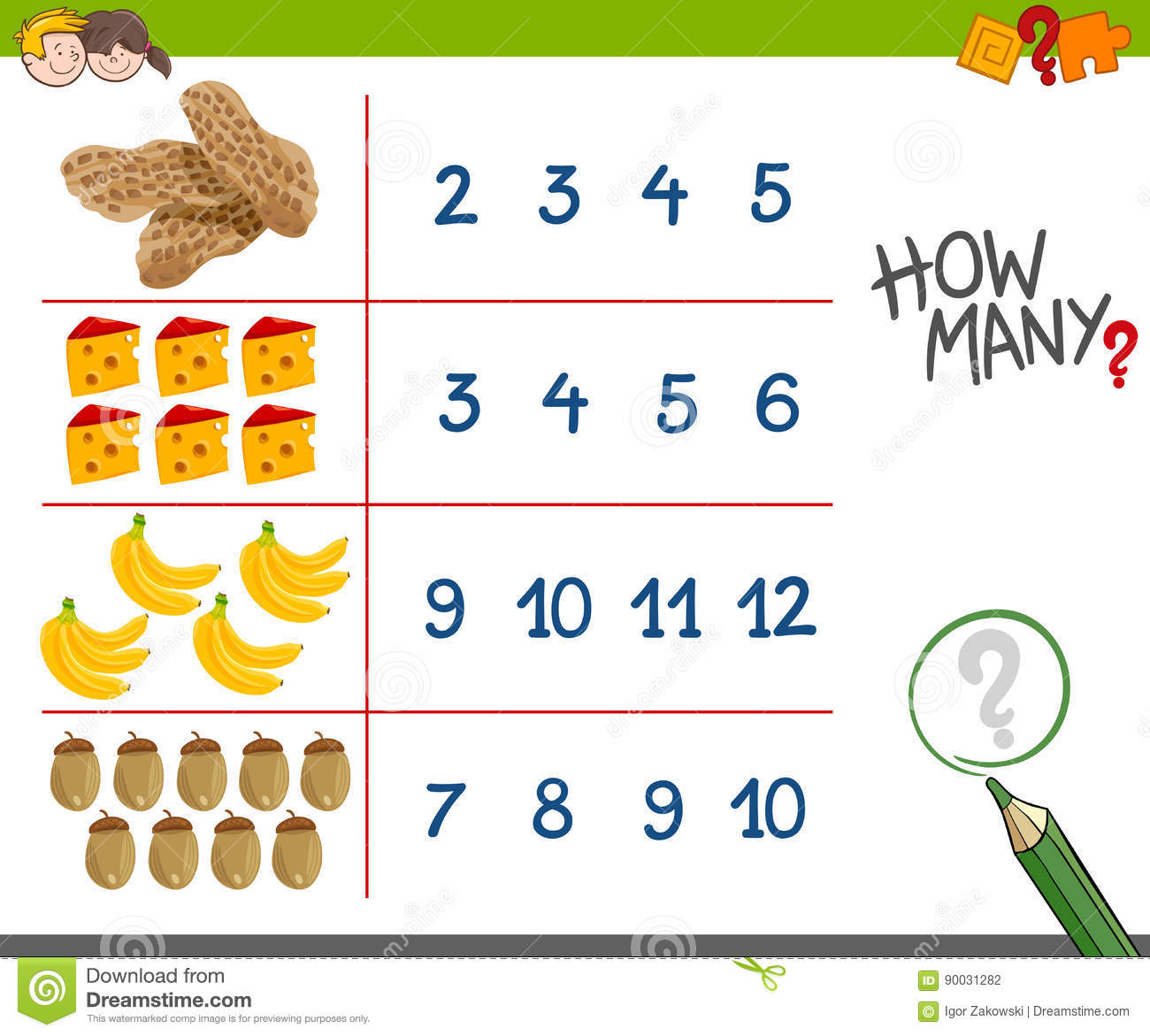 Counting Activity With Food Objects Stock Vector