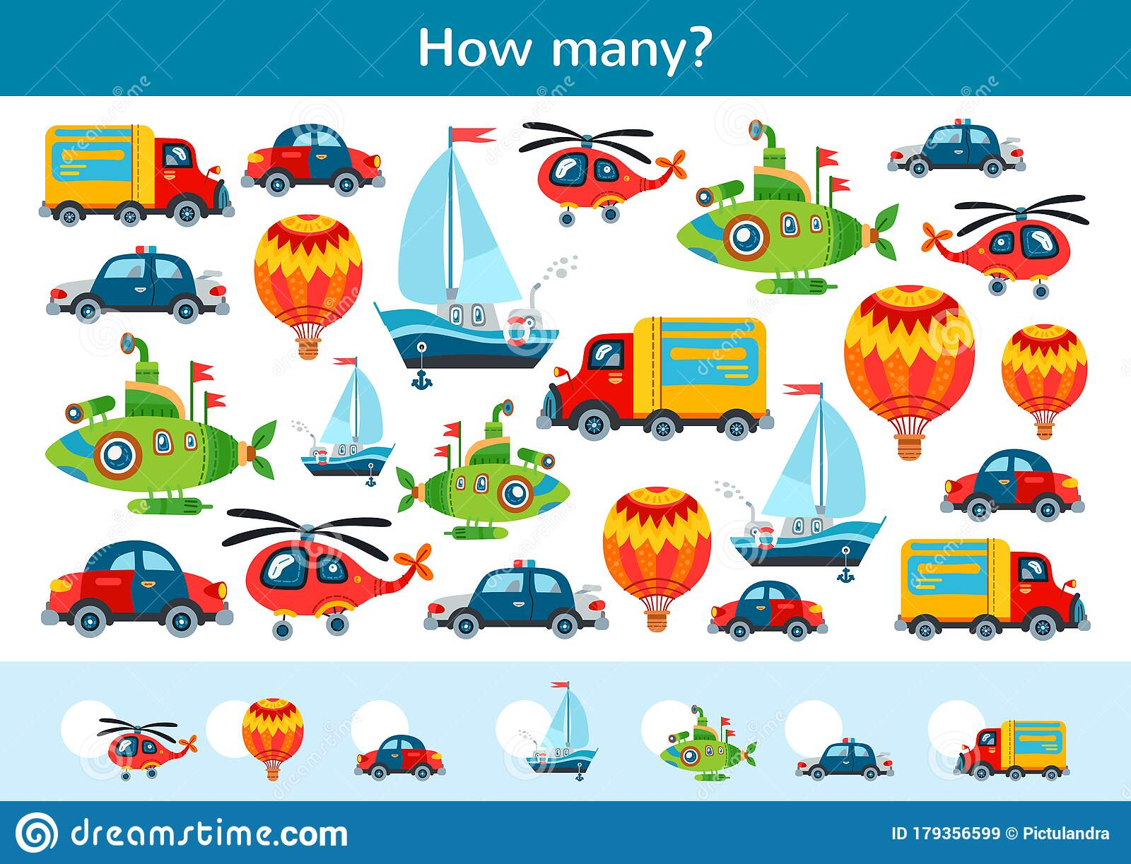 Counting Children Game Of Toy Transport Set Stock Vector