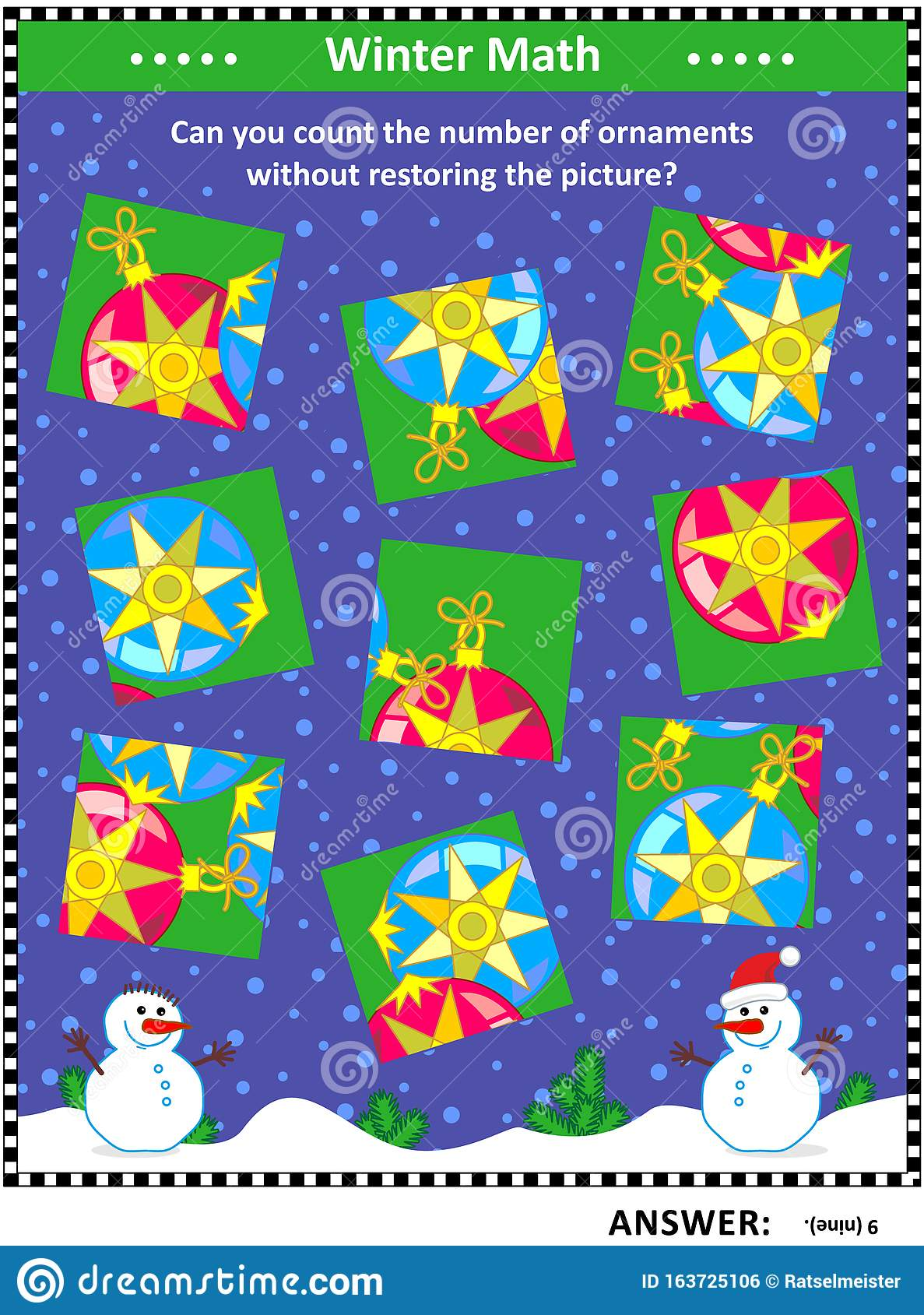 Counting Christmas Tree Ornaments Visual Logic Puzzle