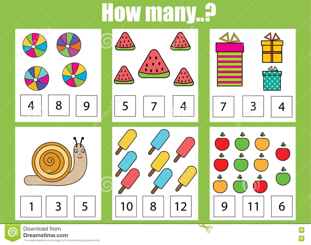 Counting Educational Children Game How Many Objects Task