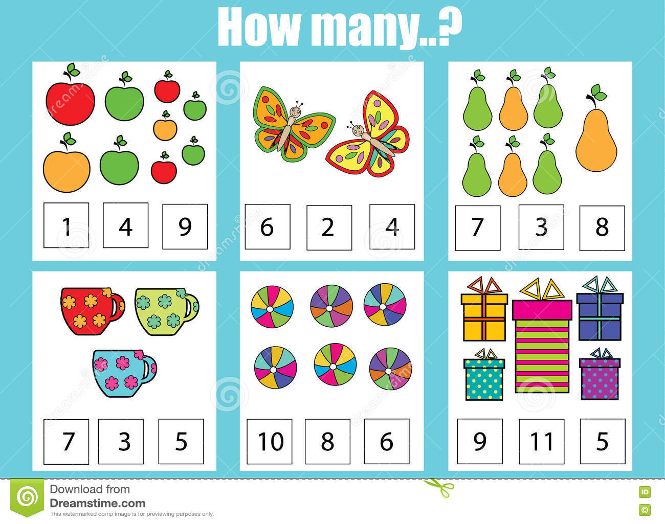 Counting Educational Children Game How Many Objects Task Stock Vector
