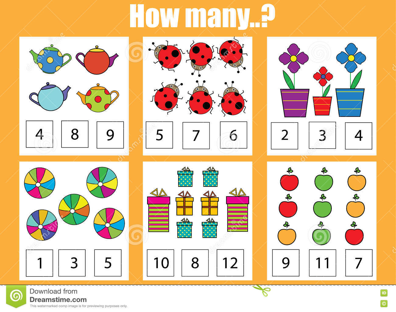 Counting Educational Children Game How Many Objects Task Stock Photo