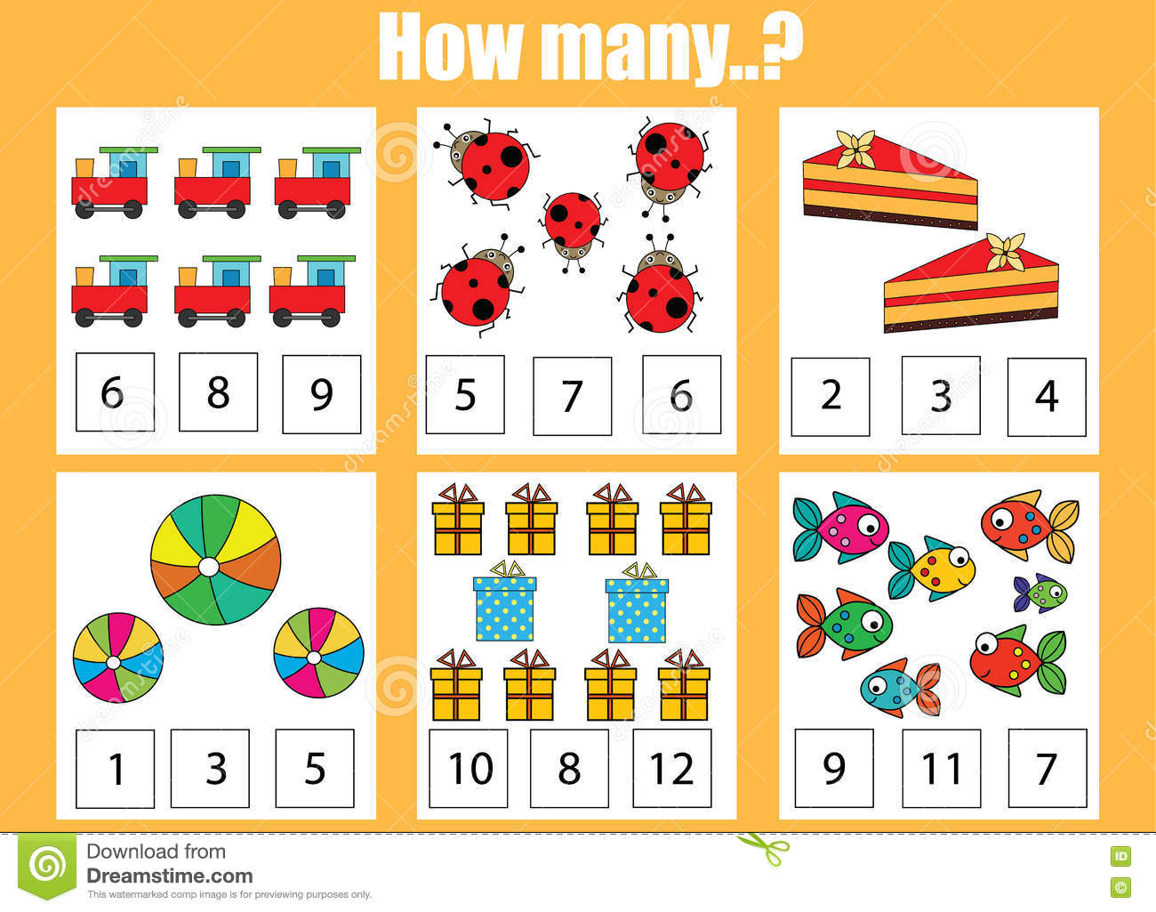 Counting Educational Children Game Kids Activity How Many Objects Task Stock Vector