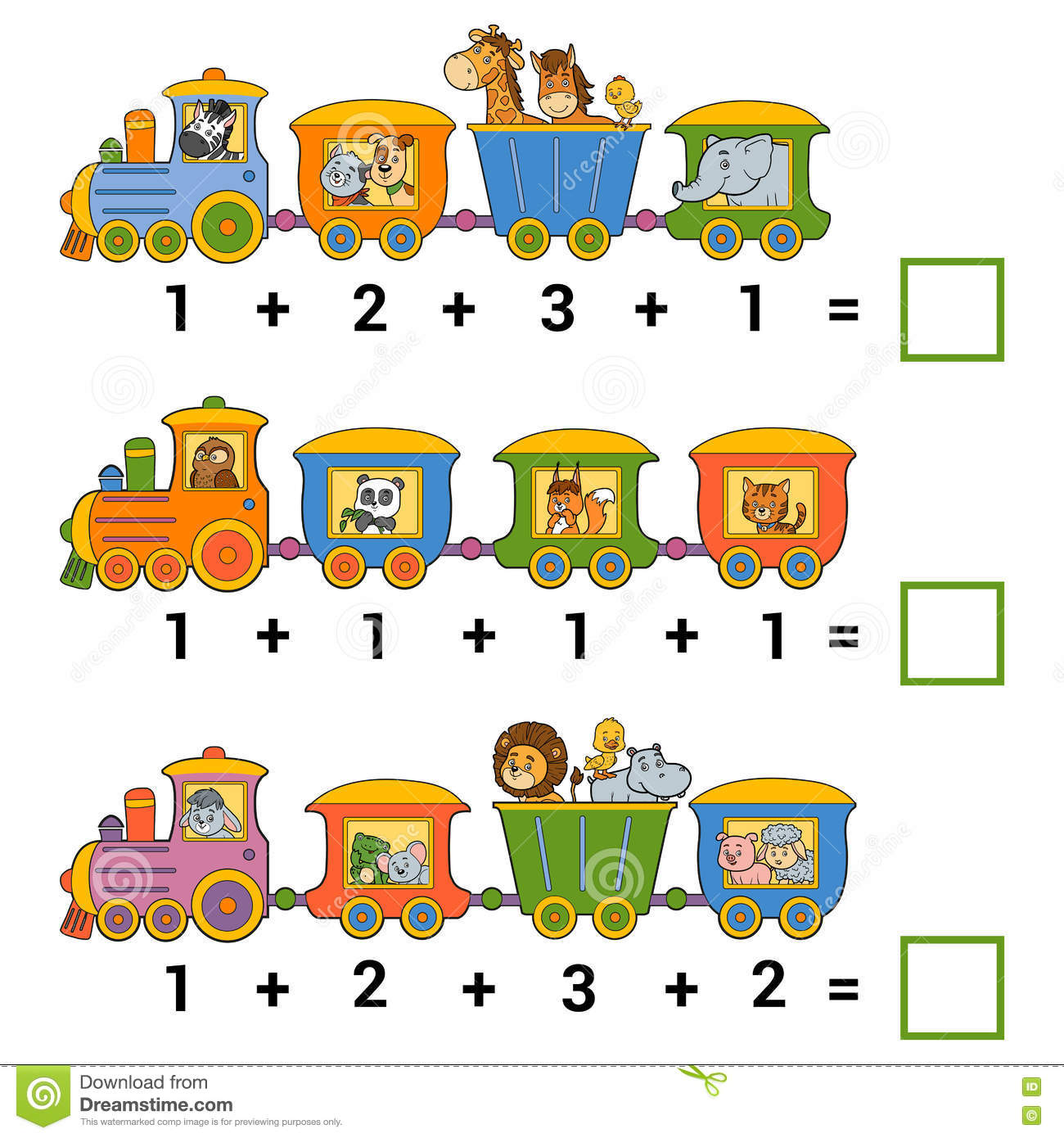 Counting Educational Game For Children Addition Worksheets Stock Vector