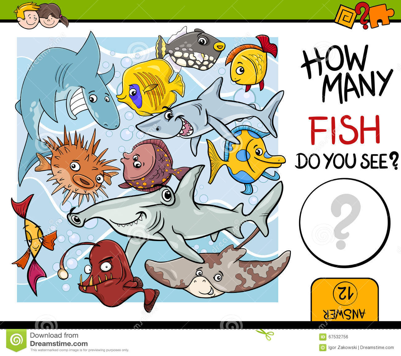 Counting Fish Preschool Task Stock Vector