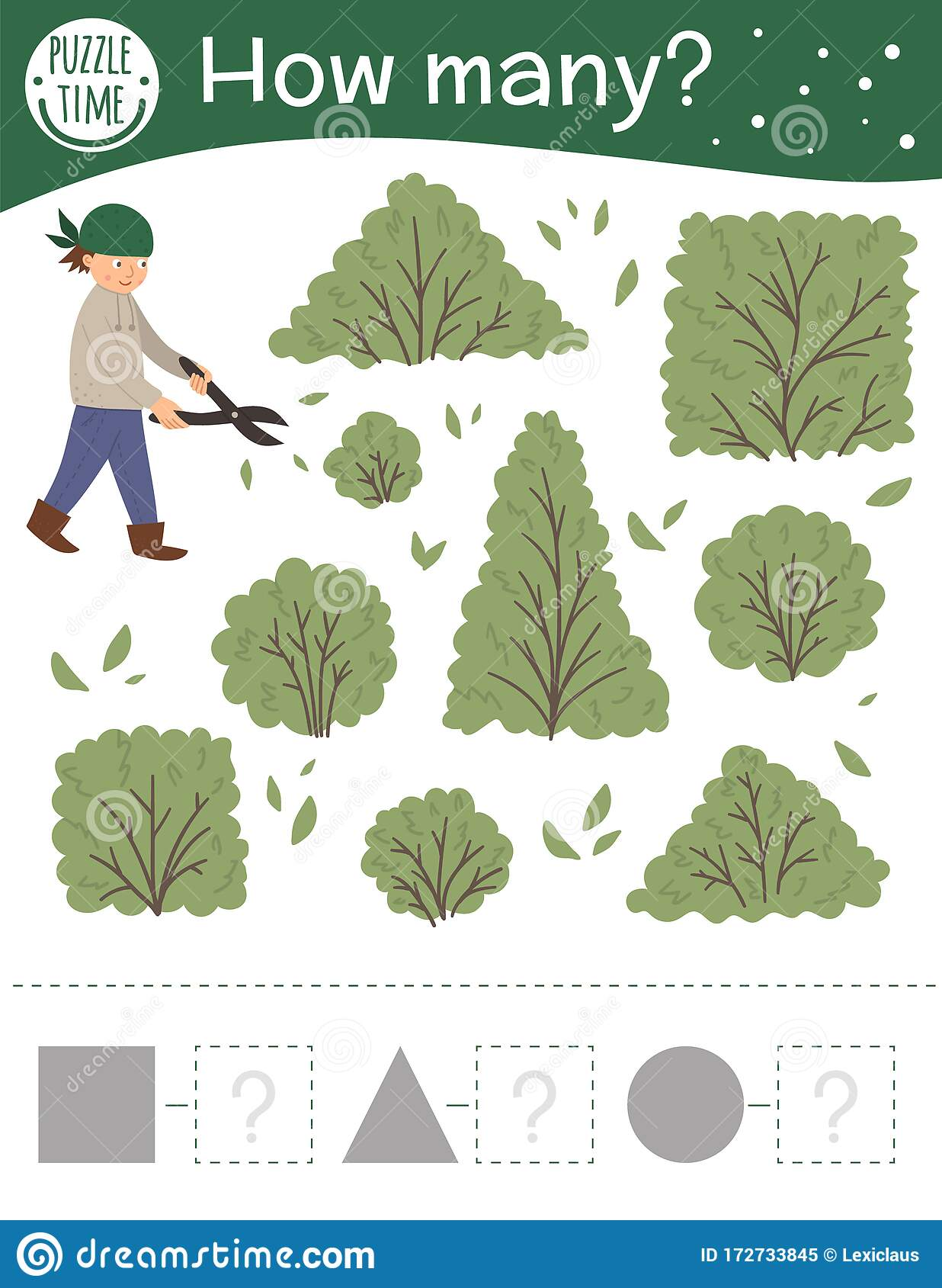 Counting Game With Boy Cutting Shrubs Spring Math